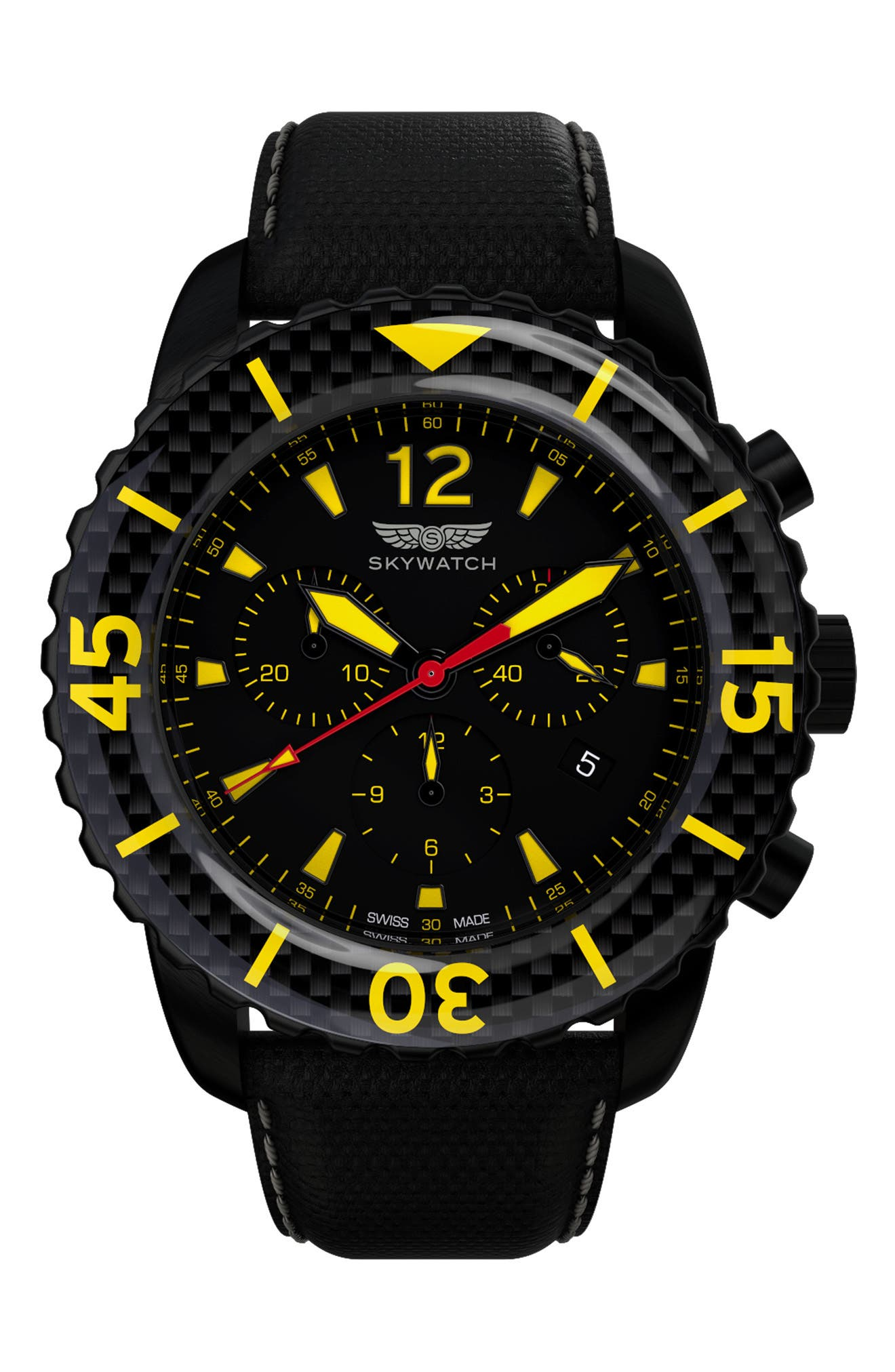 Classic Chronograph Woven Strap Watch, 44mm,                         Main,                         color, Black/ Black