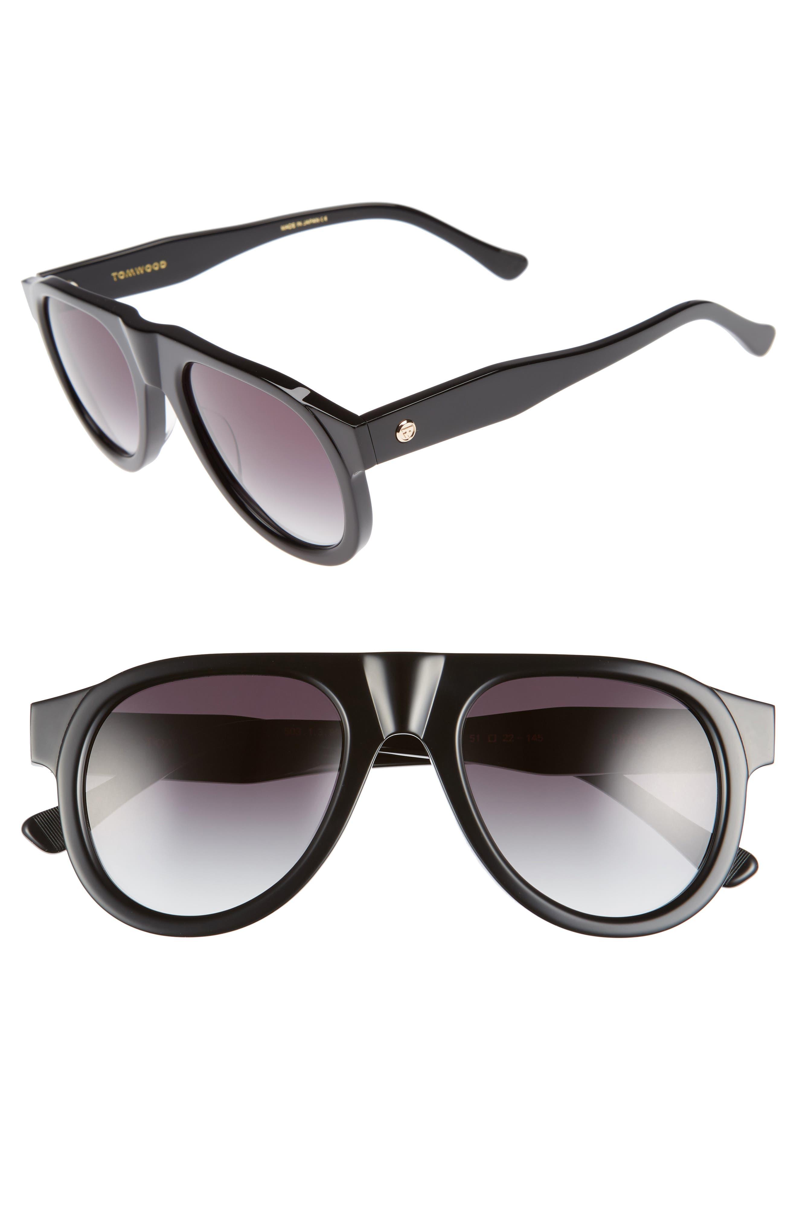 Duke Aviator Sunglasses,                         Main,                         color, Black