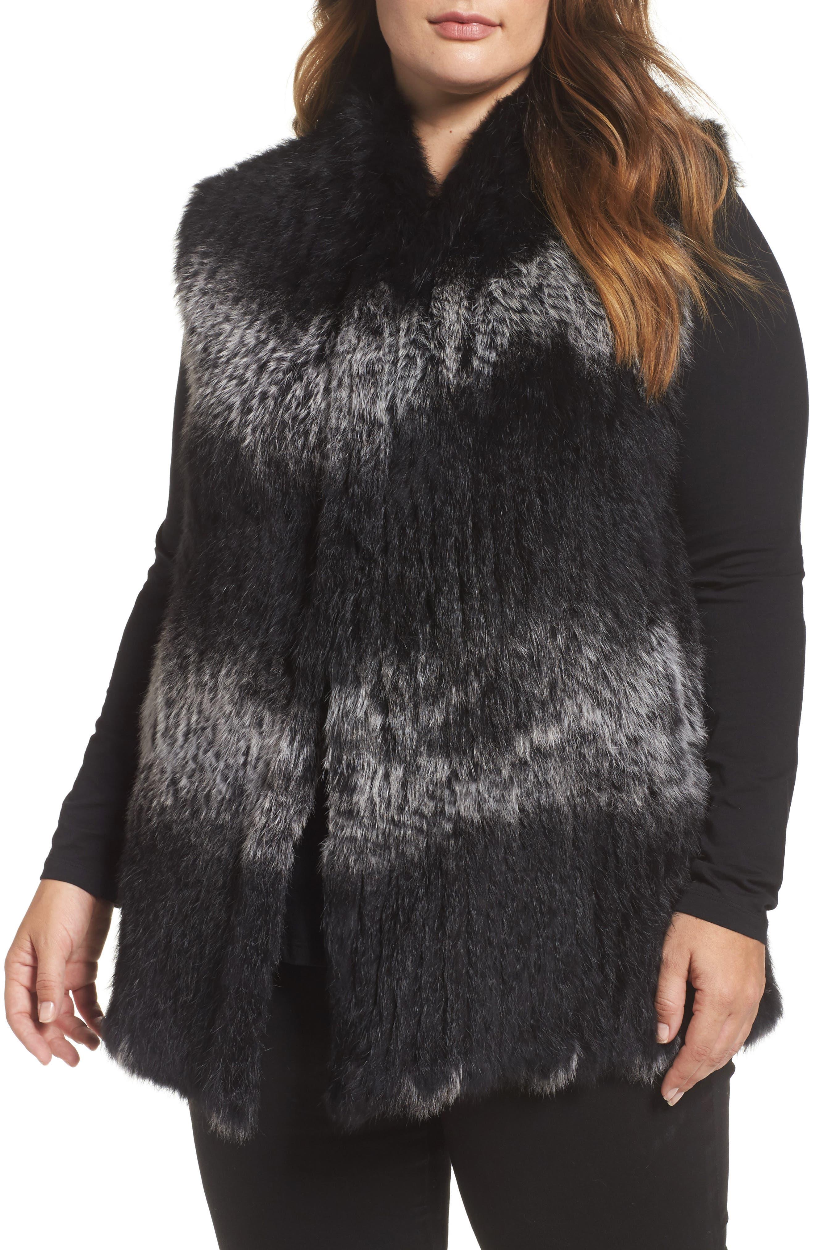 Genuine Rabbit Fur Vest,                         Main,                         color, Black/ Snow