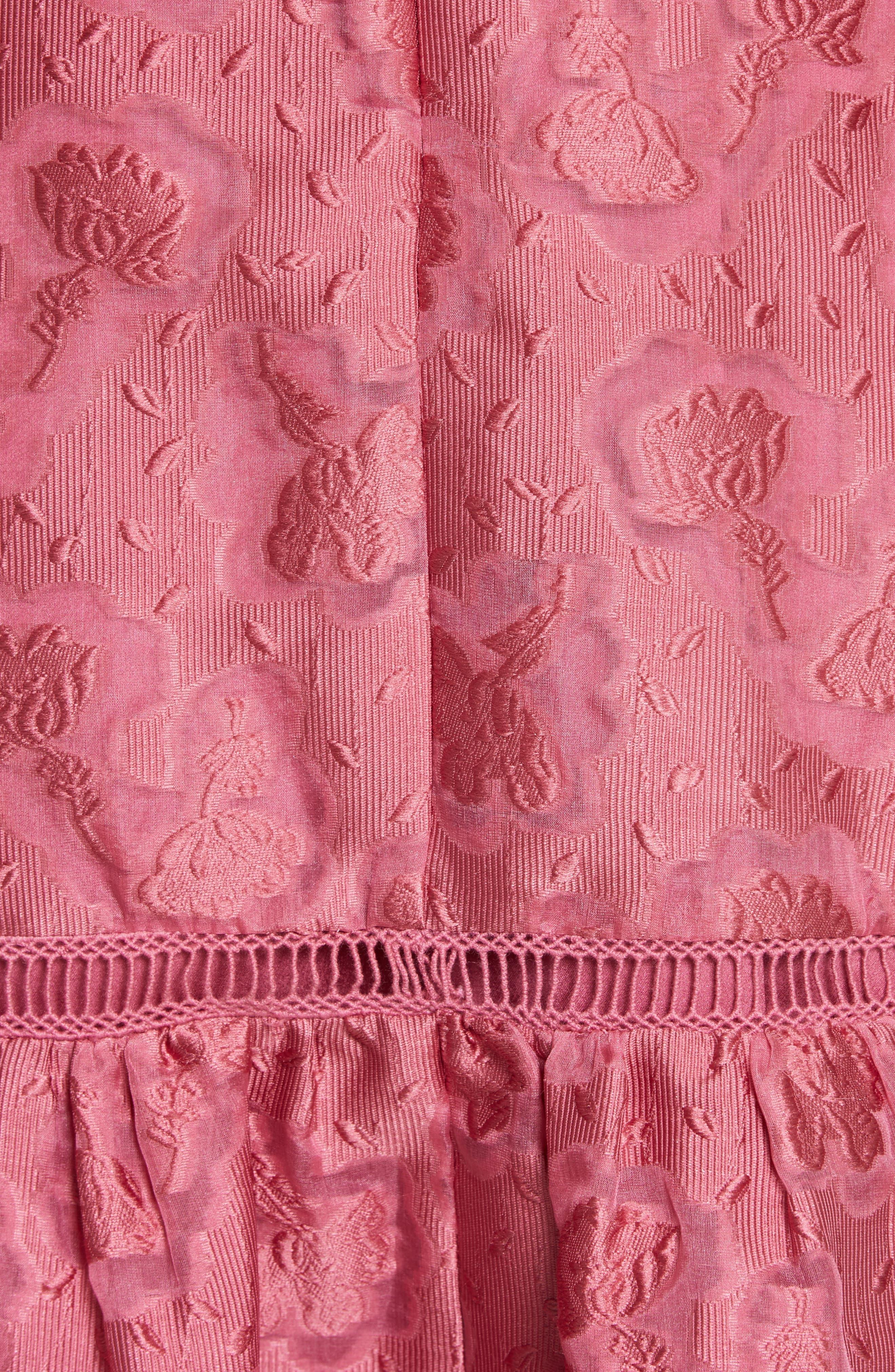 Aly Floral Jacquard Dress,                             Alternate thumbnail 5, color,                             Bloom