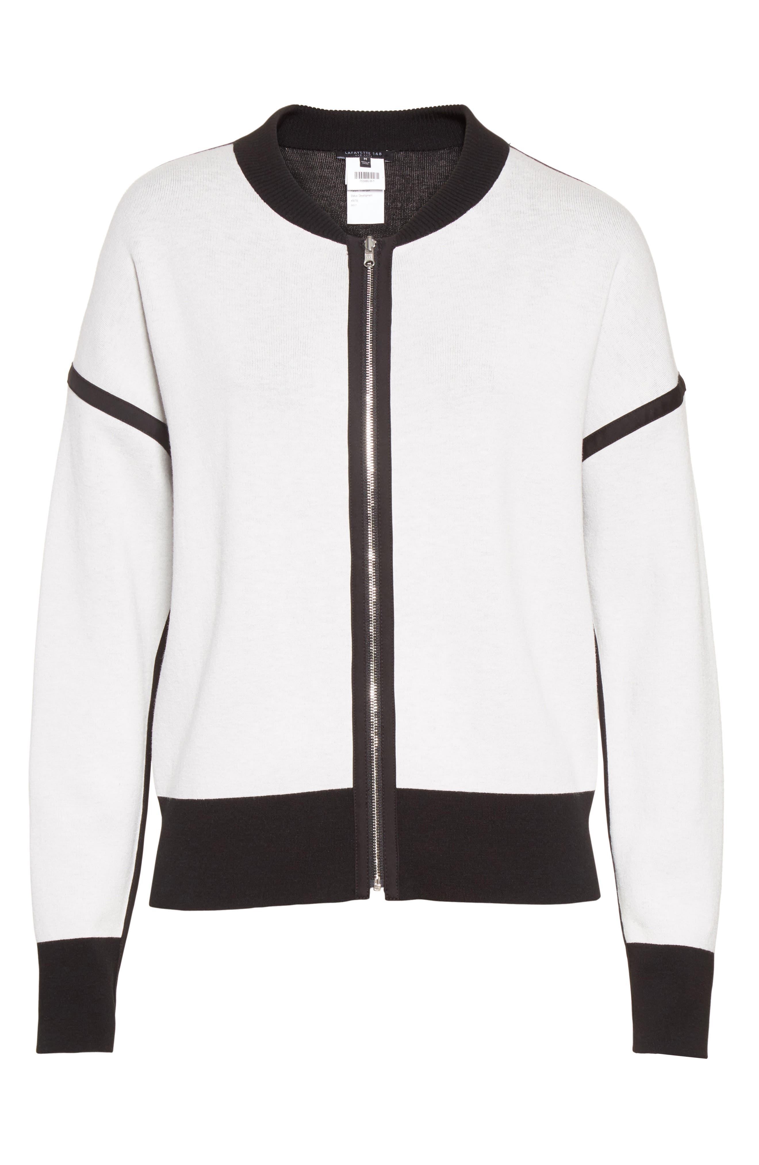 Matte Crepe Reversible Knit Bomber Jacket,                             Alternate thumbnail 6, color,                             Cloud / Black