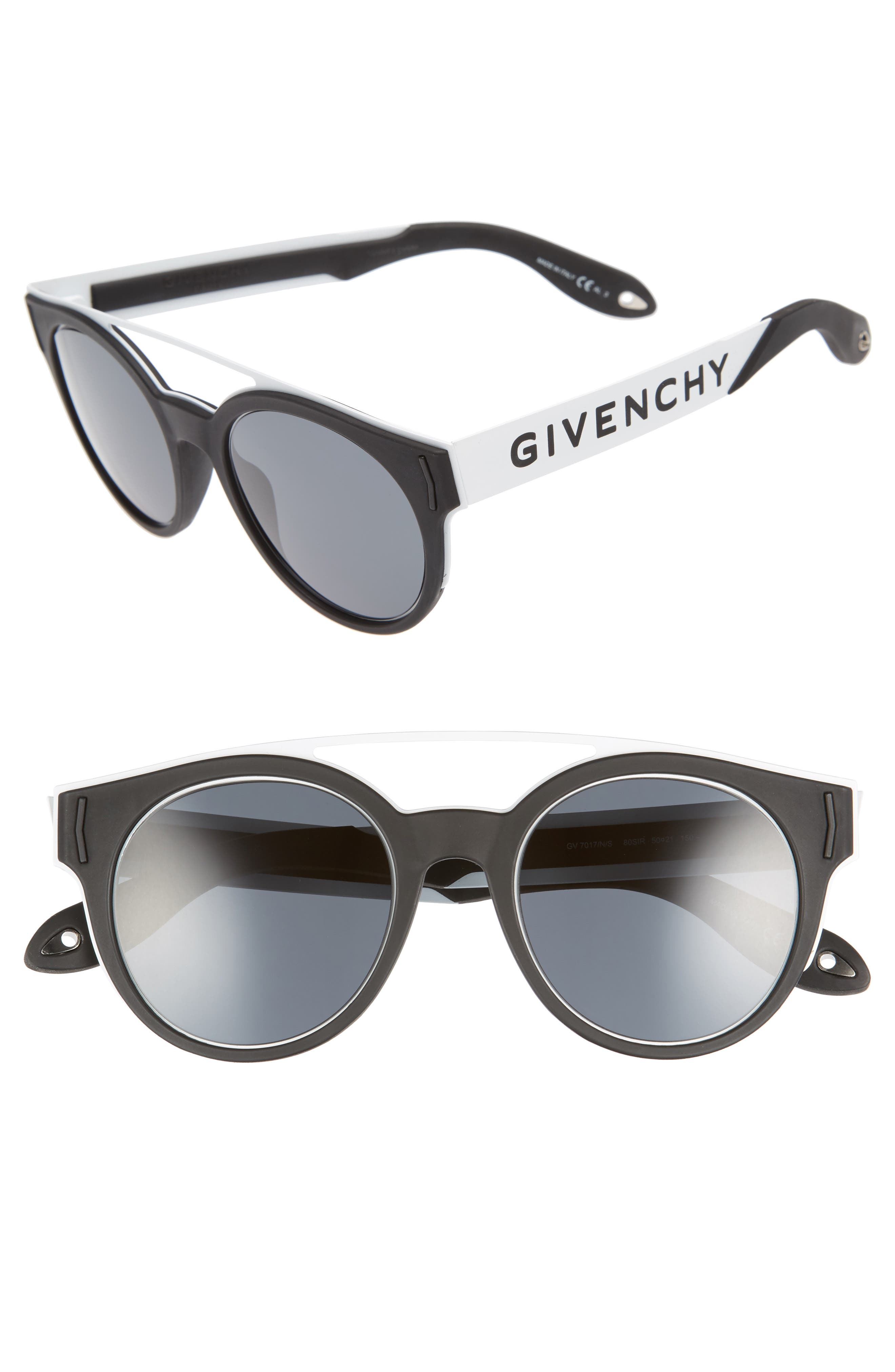 50mm Round Sunglasses,                         Main,                         color, Black/ White