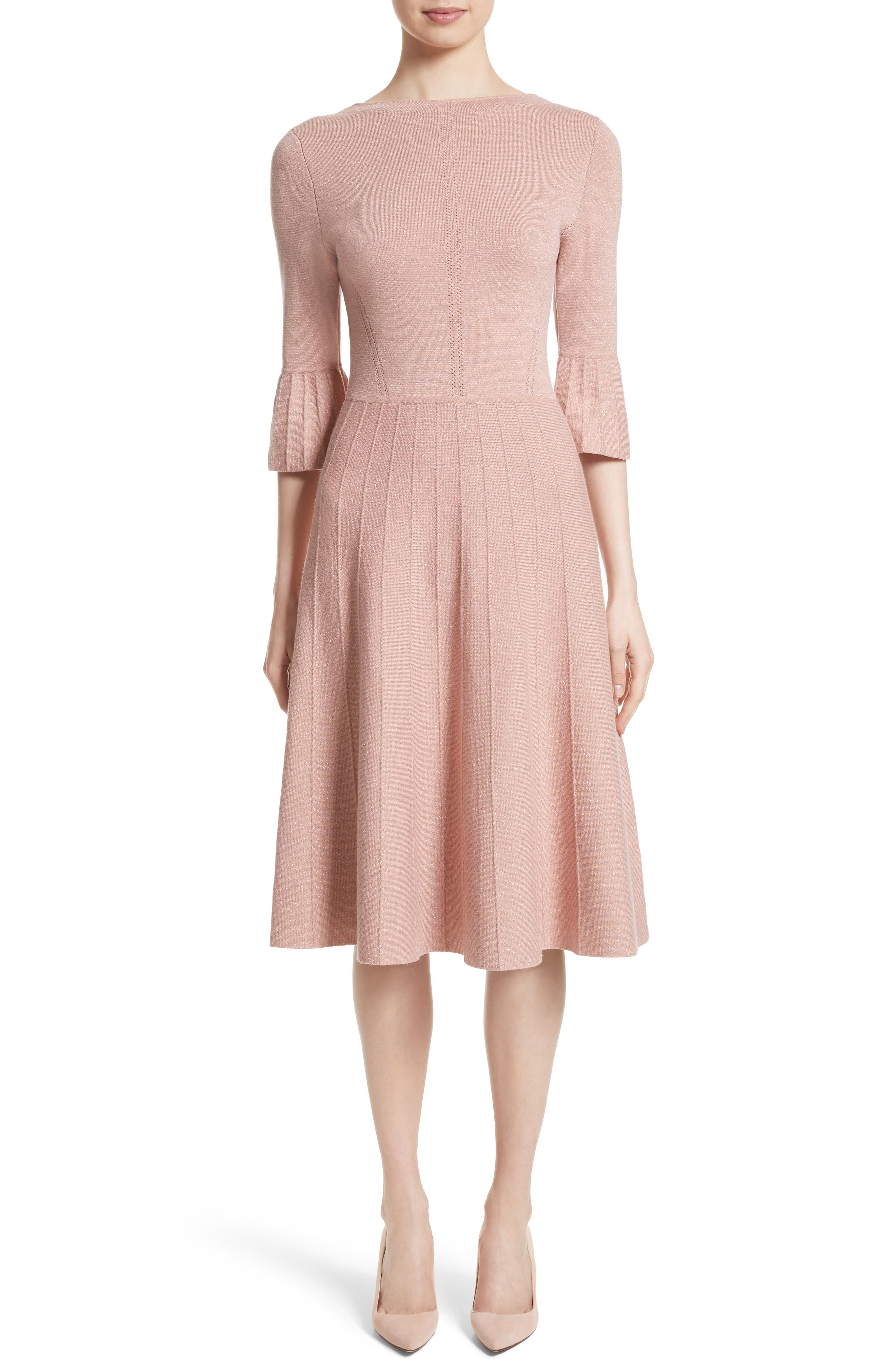 Metallic Knit Fit & Flare Dress,                             Main thumbnail 1, color,                             Pink