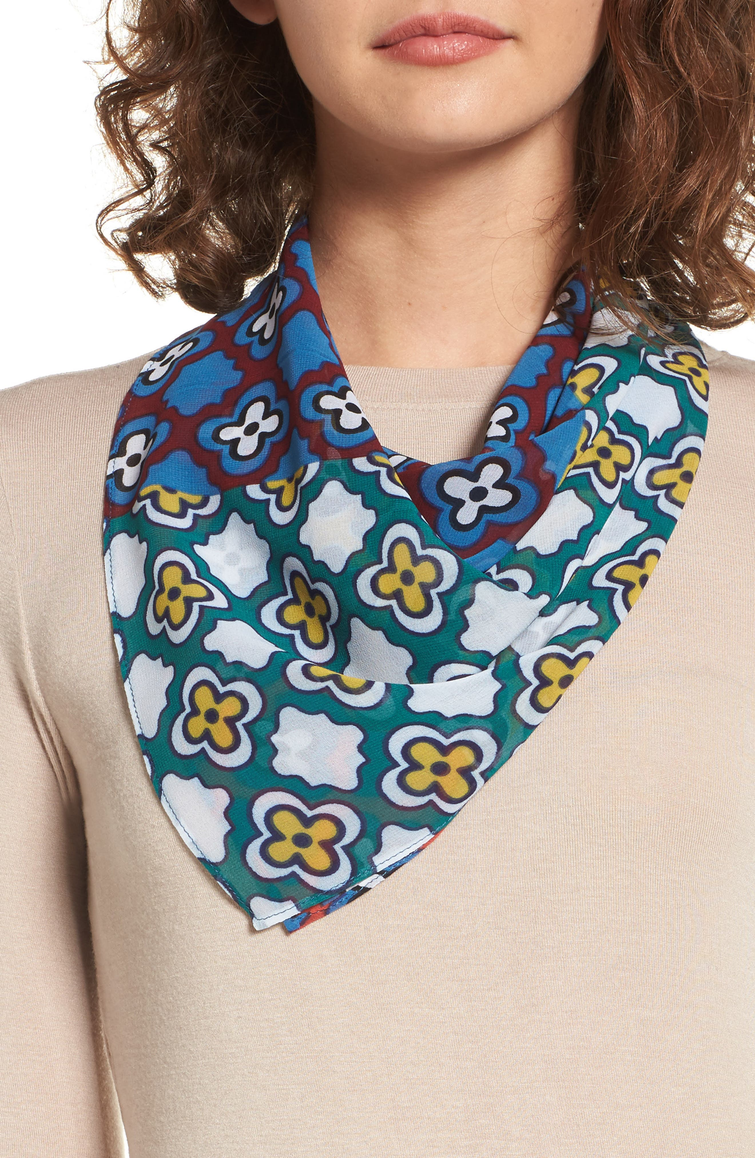 Summer Medallion Square Scarf,                         Main,                         color, Blue Combo