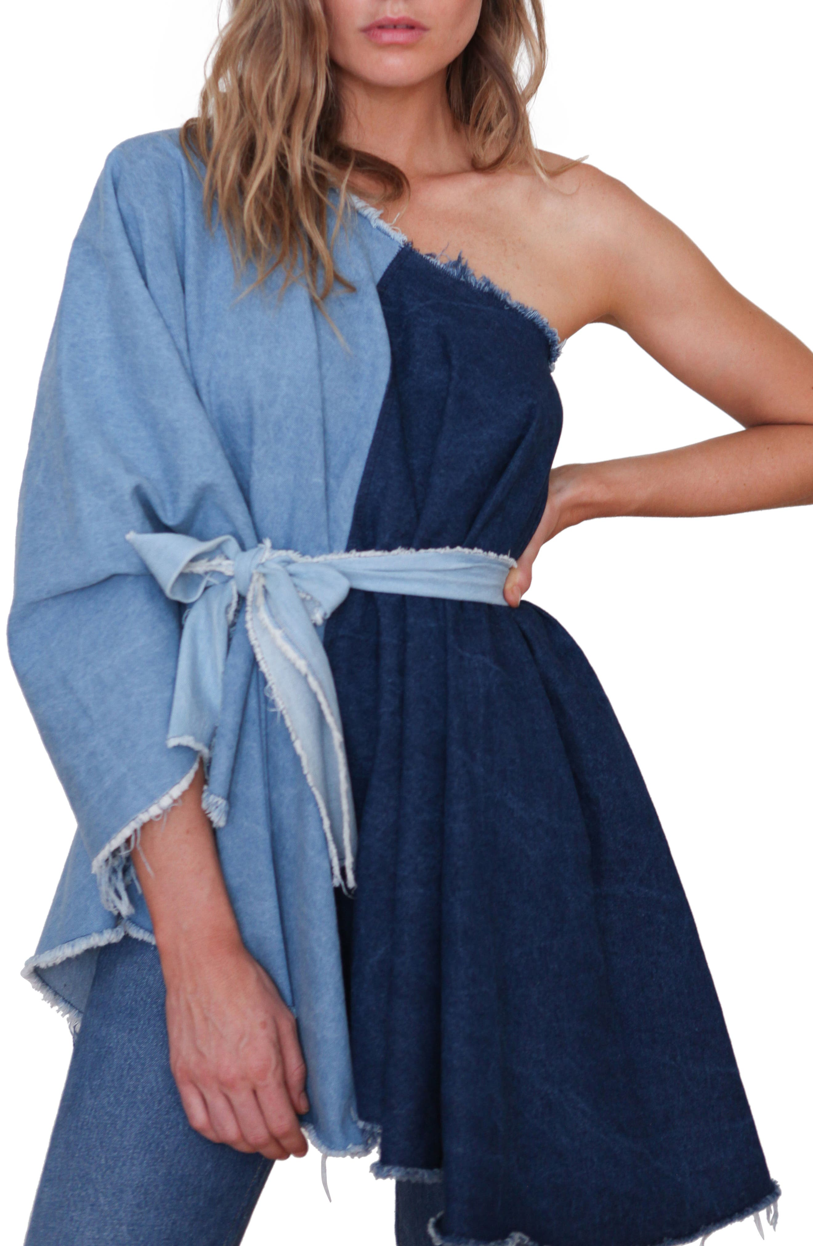 DONNI CHARM Sway Frayed Two-Tone Denim Poncho