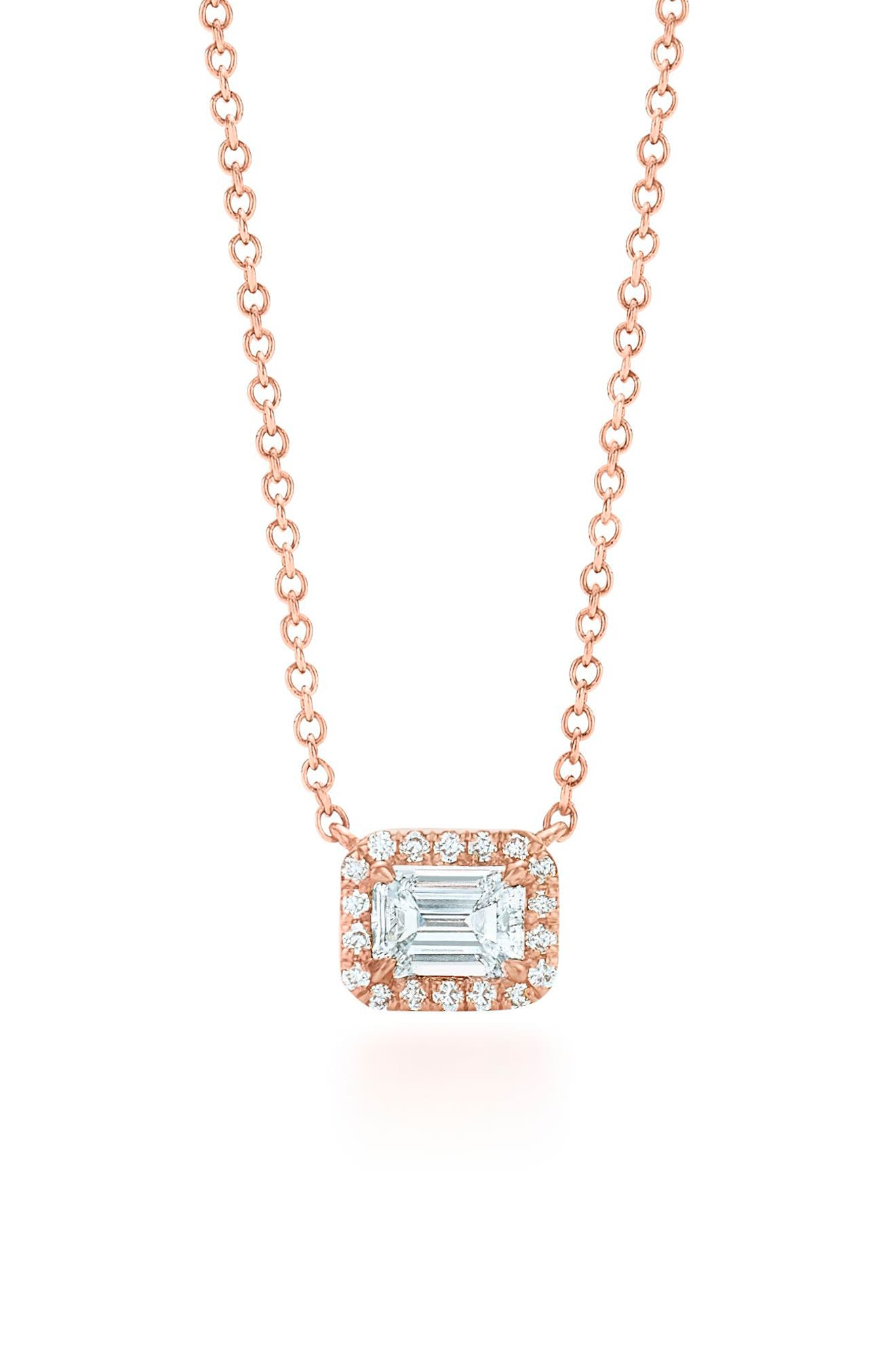 Emerald Cut Diamond Pendant Necklace,                             Main thumbnail 1, color,                             Rose Gold