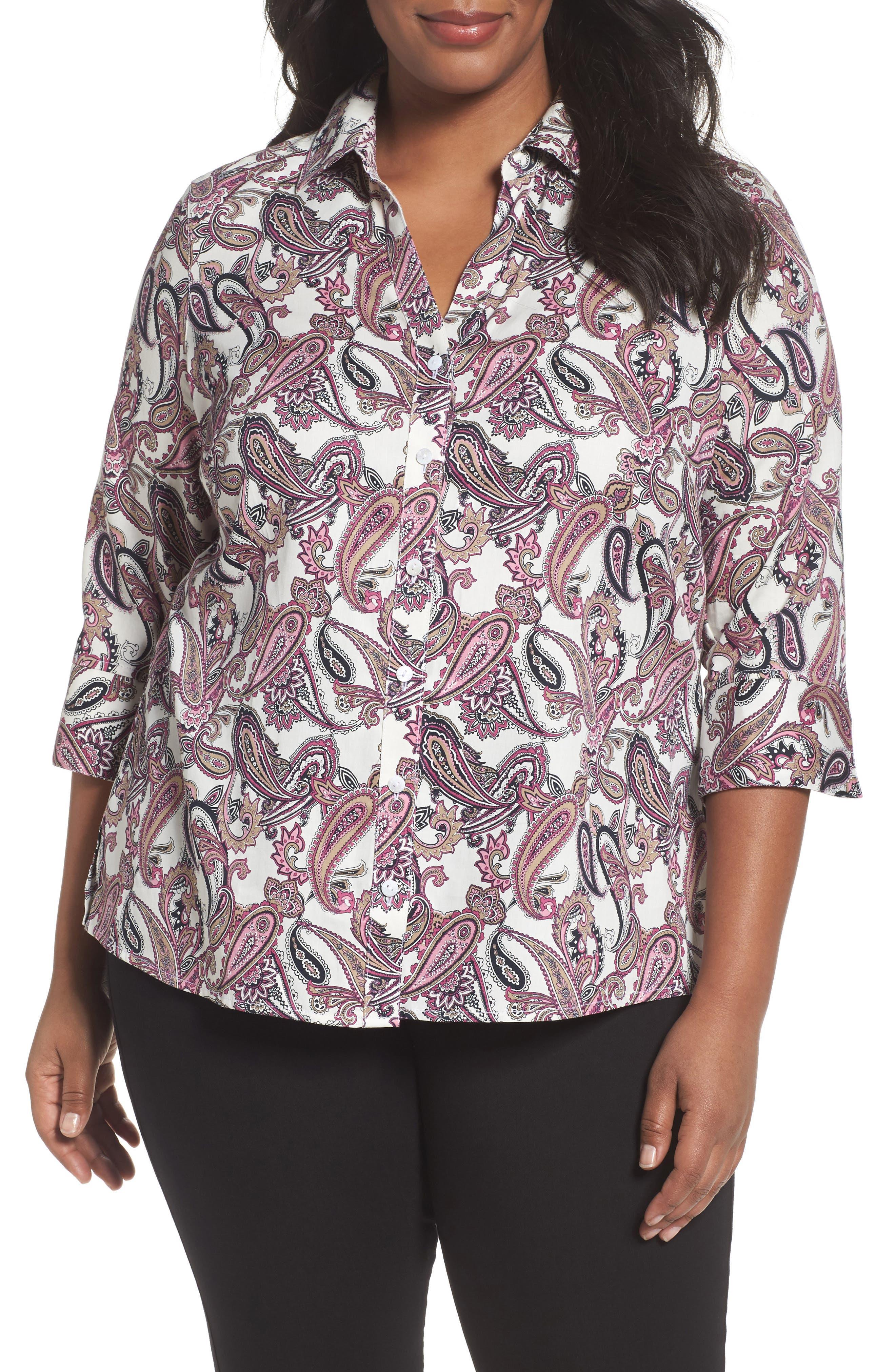 Foxcroft Mary Paisley Wrinkle Free Shirt (Plus Size)