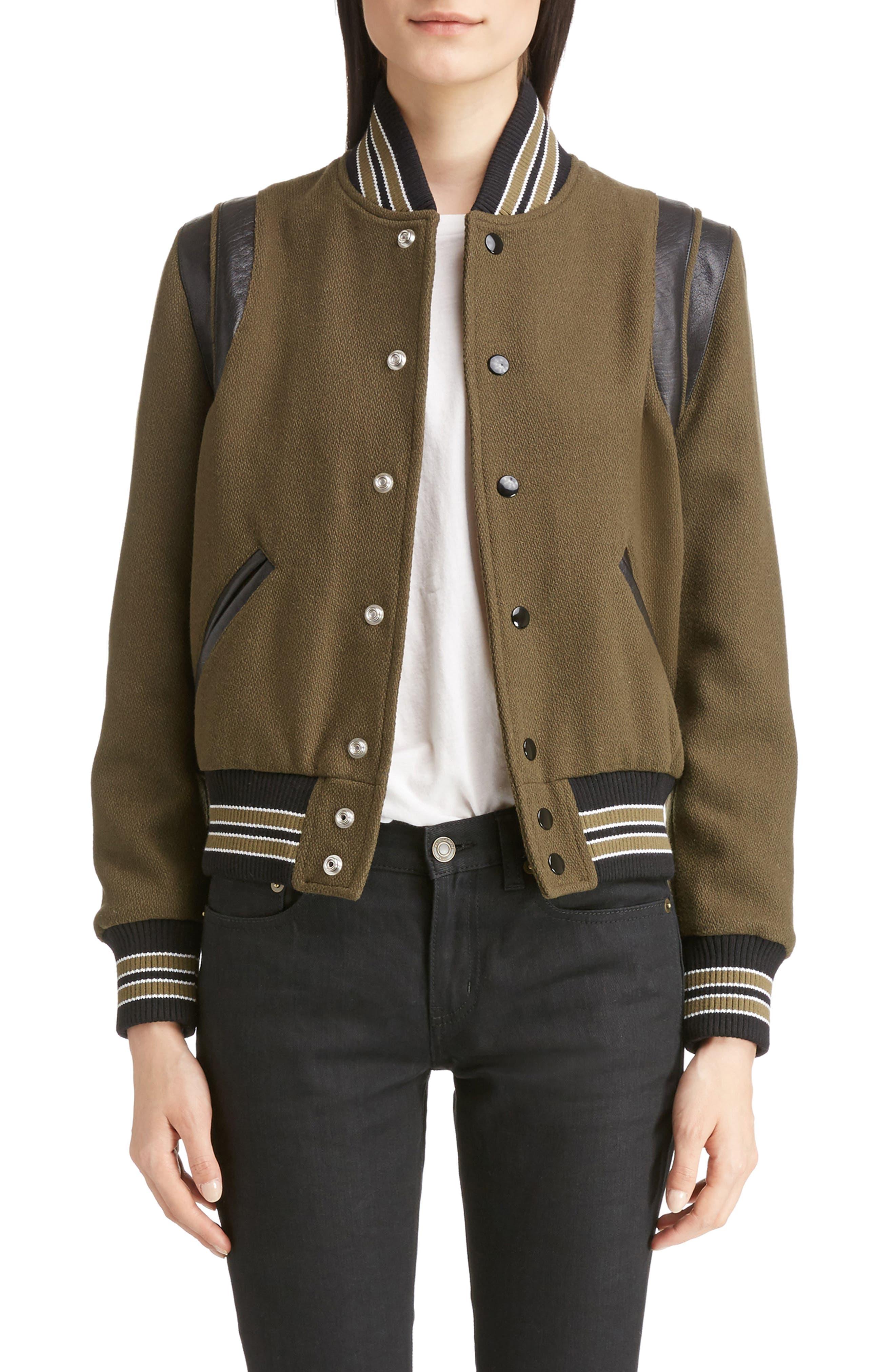 Main Image - Saint Laurent Leather Trim Classic Teddy Jacket