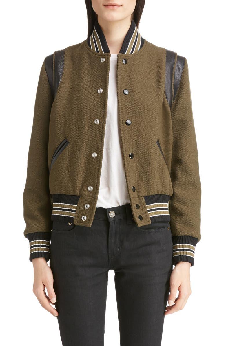 Leather Trim Classic Teddy Jacket