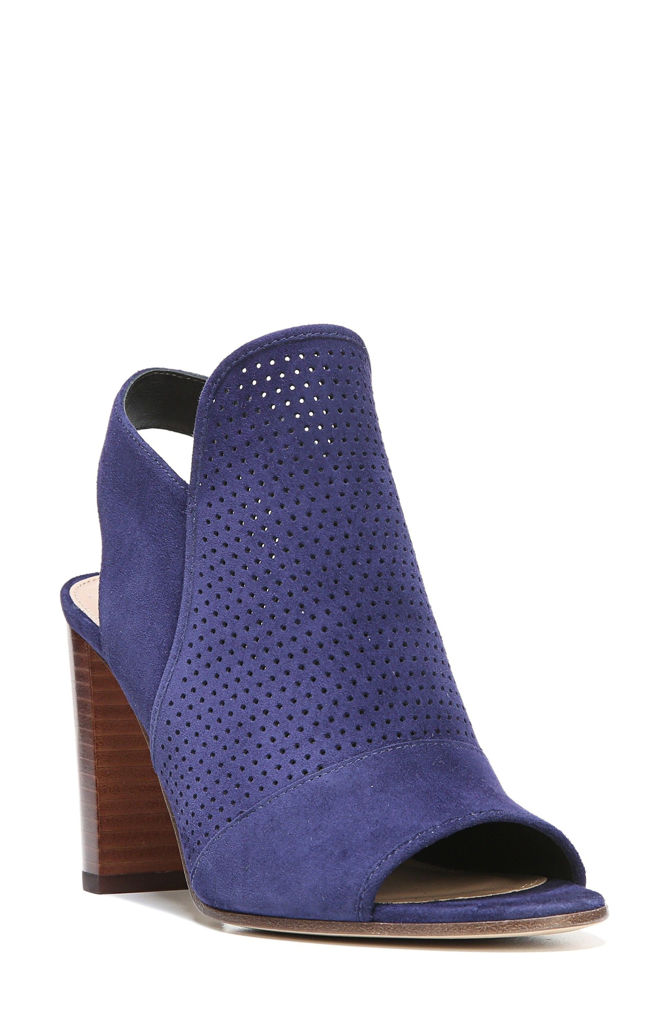 Gaze Block Heel Sandal,                             Main thumbnail 1, color,                             Marina Blue Suede
