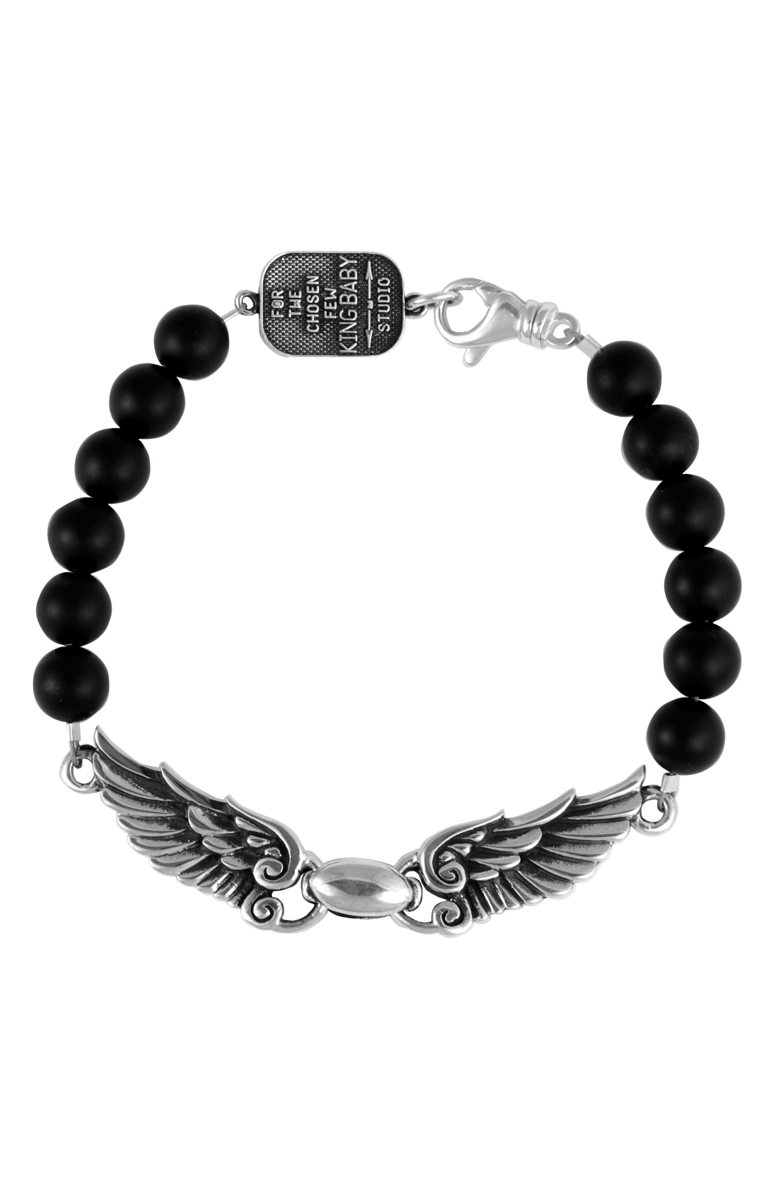 Wingspan Bracelet,                             Main thumbnail 1, color,                             Silver/ Black