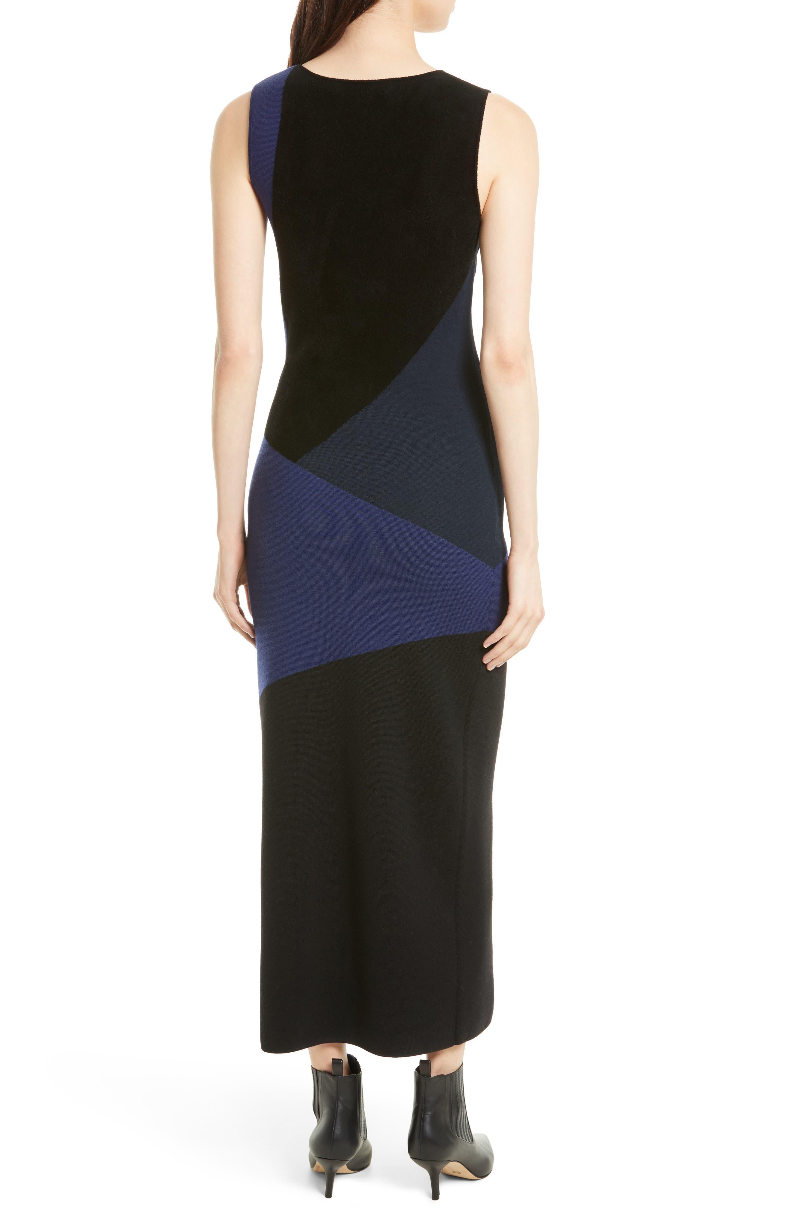 Body-Con Knit Maxi Dress,                             Alternate thumbnail 2, color,                             Black/ Deep Violet