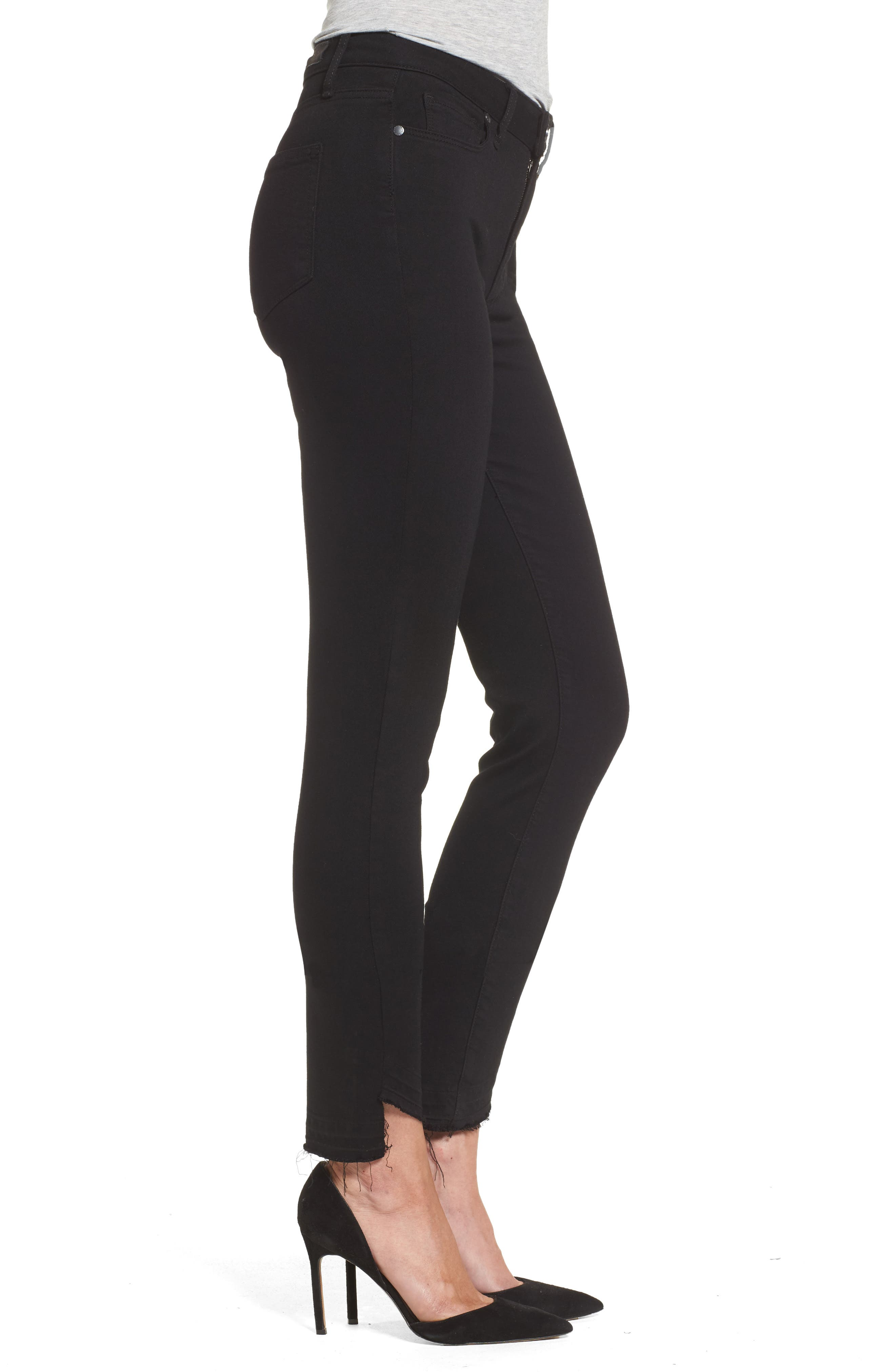 Alternate Image 3  - PAIGE Transcend Hoxton High Waist Undone Hem Skinny Jeans (Black Shadow)
