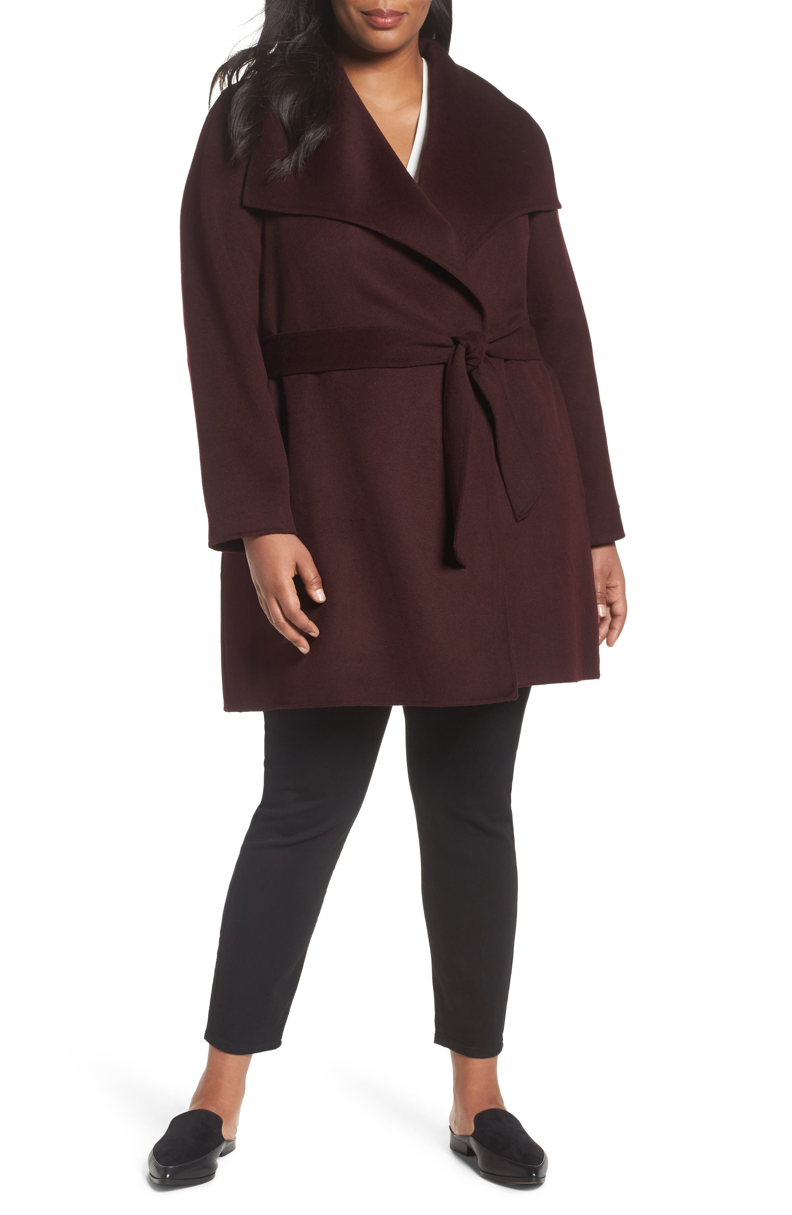 'Ella' Wrap Coat,                         Main,                         color, Port Wine