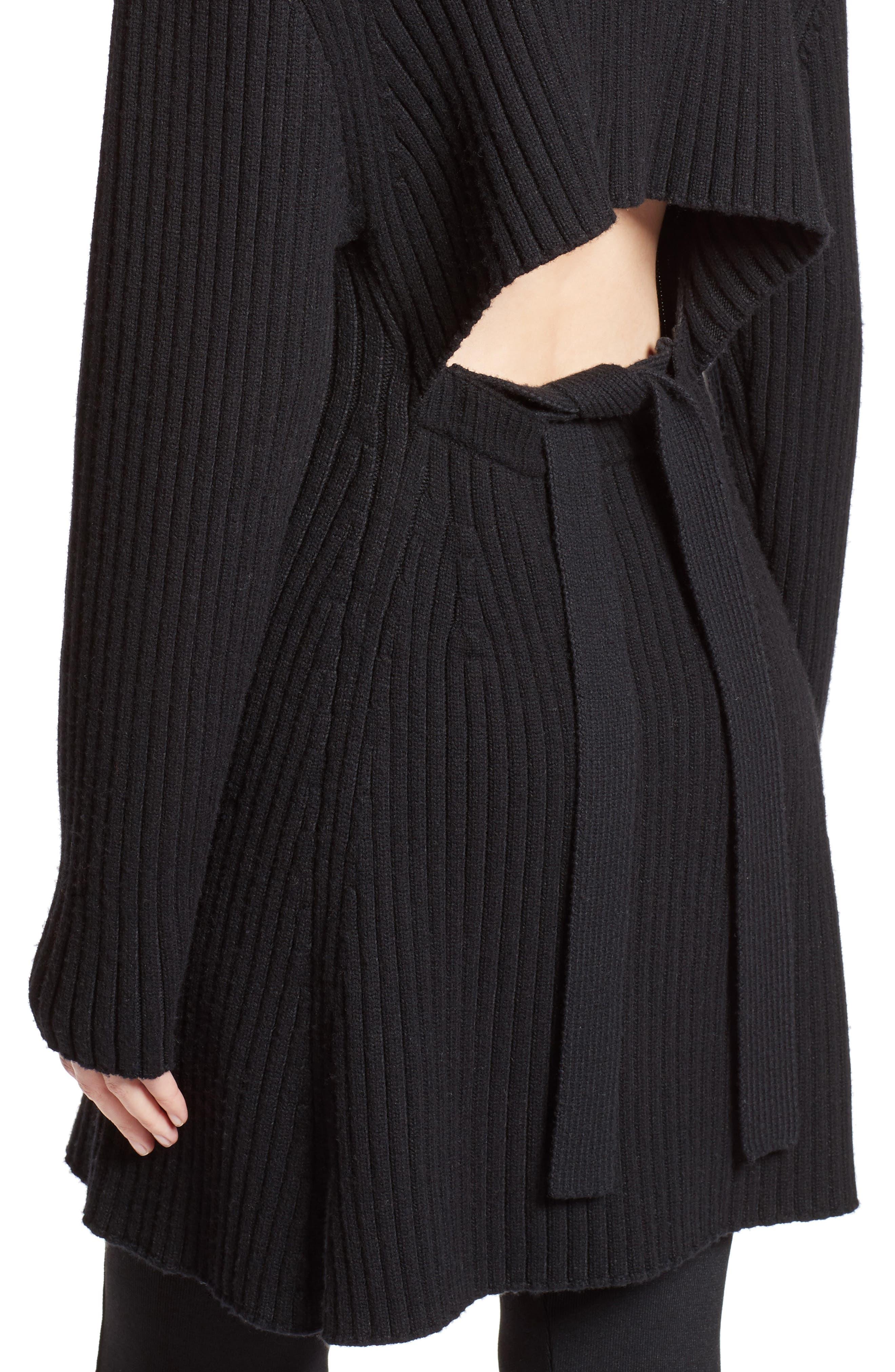 Wool & Cashmere Blend Turtleneck Dress,                             Alternate thumbnail 6, color,                             Black