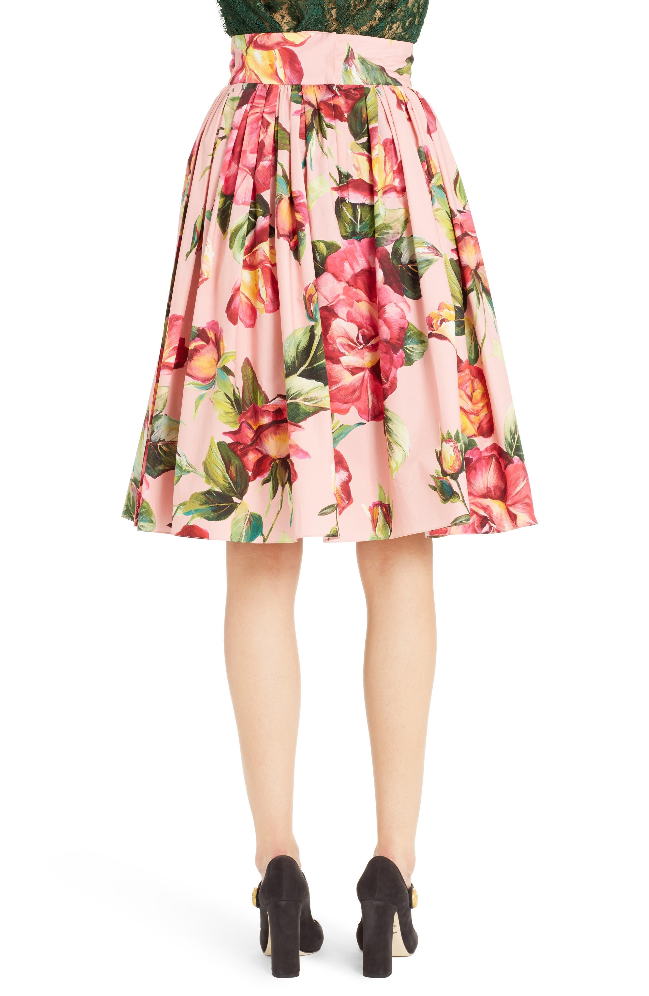 Alternate Image 2  - Dolce&Gabbana Rose Print Poplin Skirt