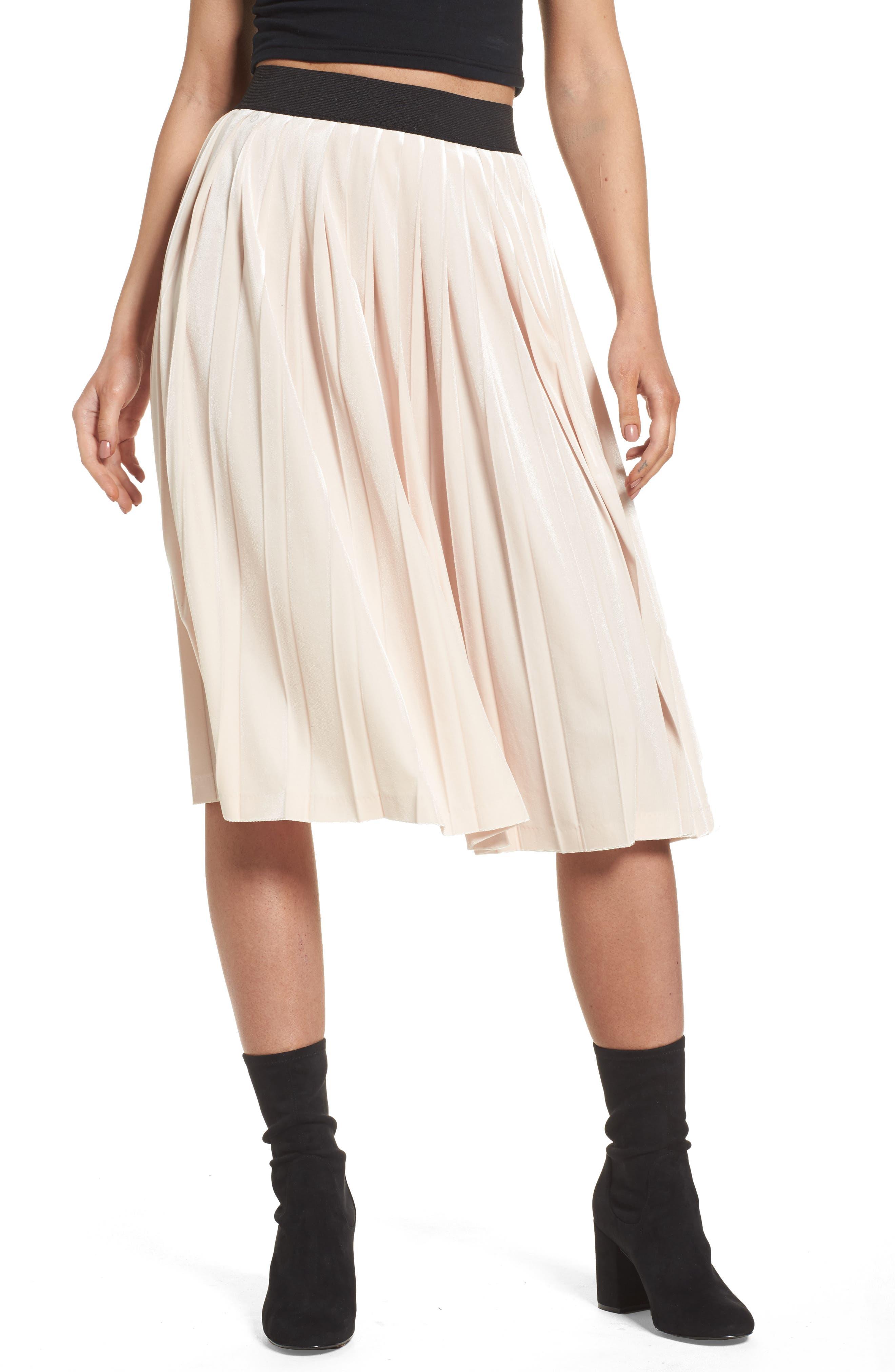 Leith High Waist Velour Pleat Midi Skirt