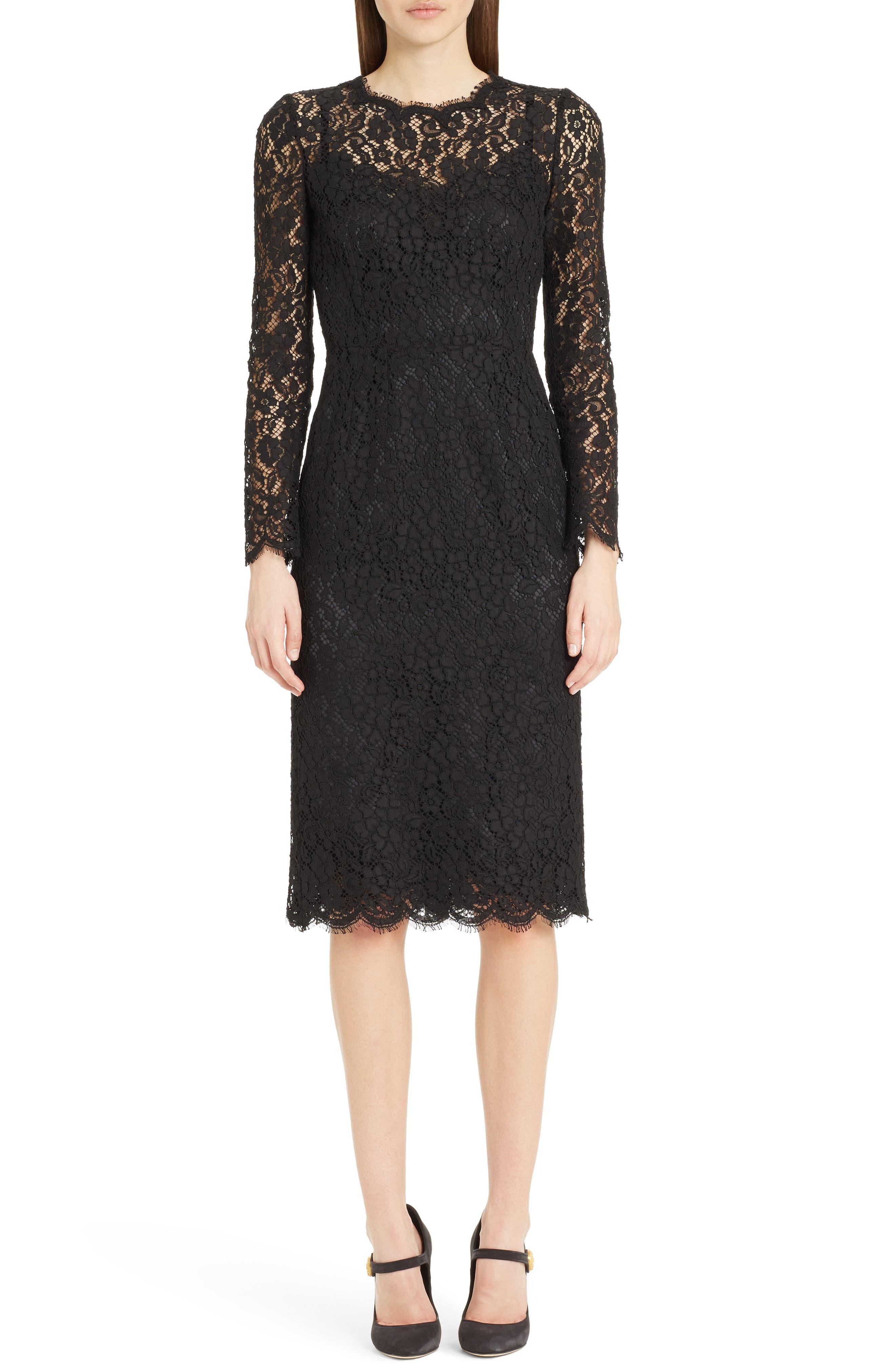 Lace Sheath Dress,                         Main,                         color, Nero