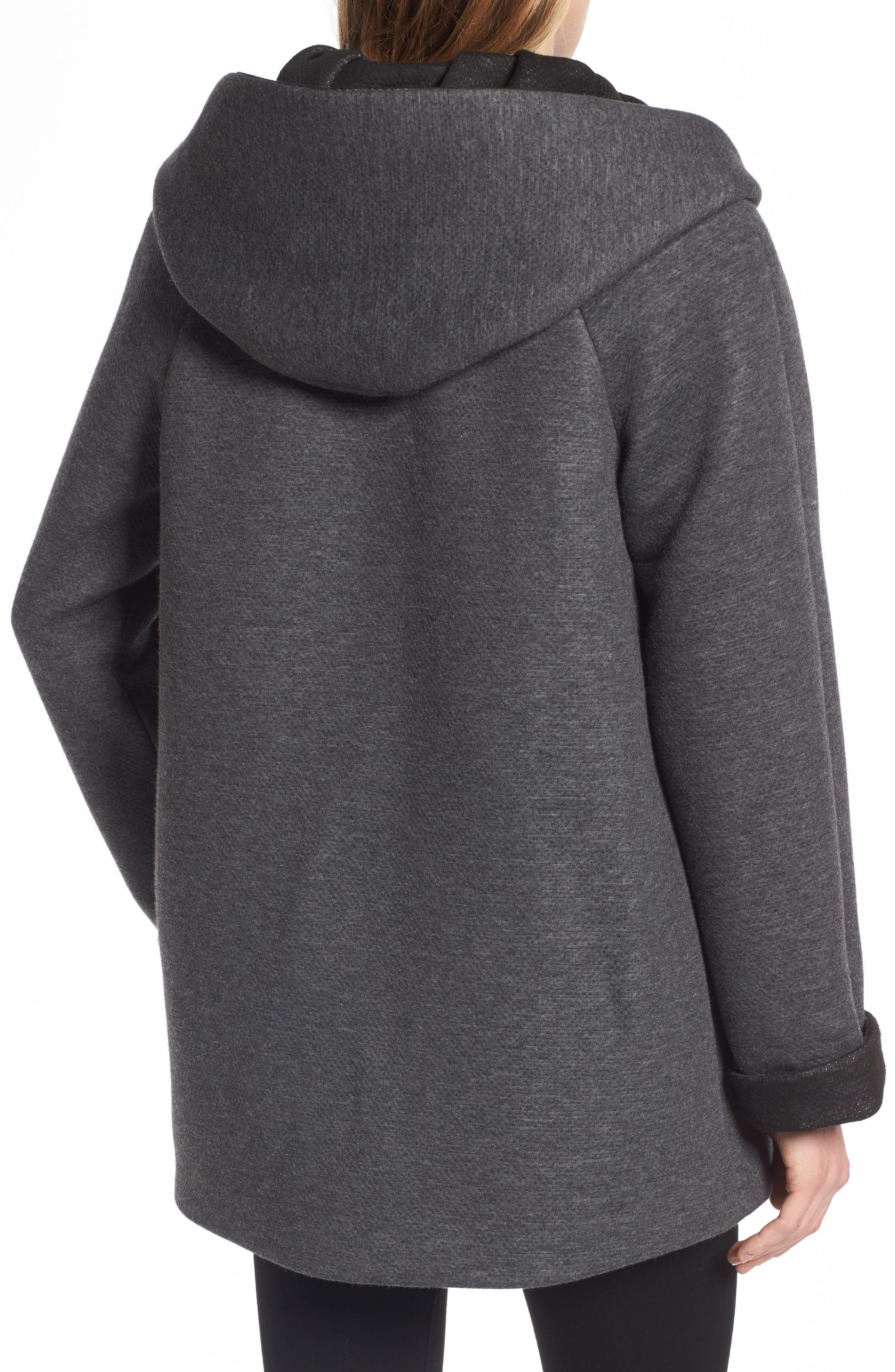 Hooded Double Face Knit Coat,                             Alternate thumbnail 2, color,                             Dark Heather