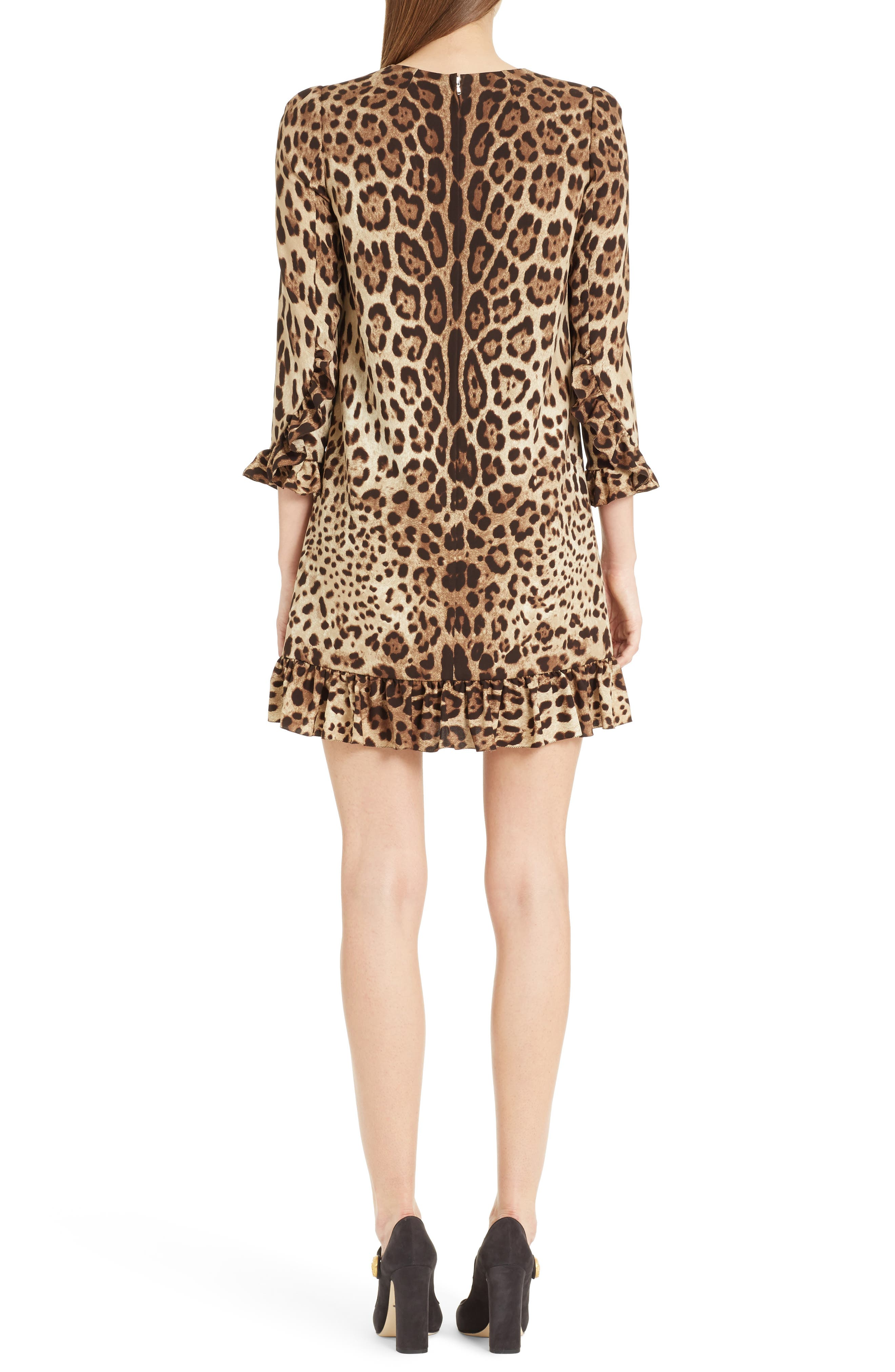 Leopard Print Stretch Silk Dress,                             Alternate thumbnail 2, color,                             Leopard