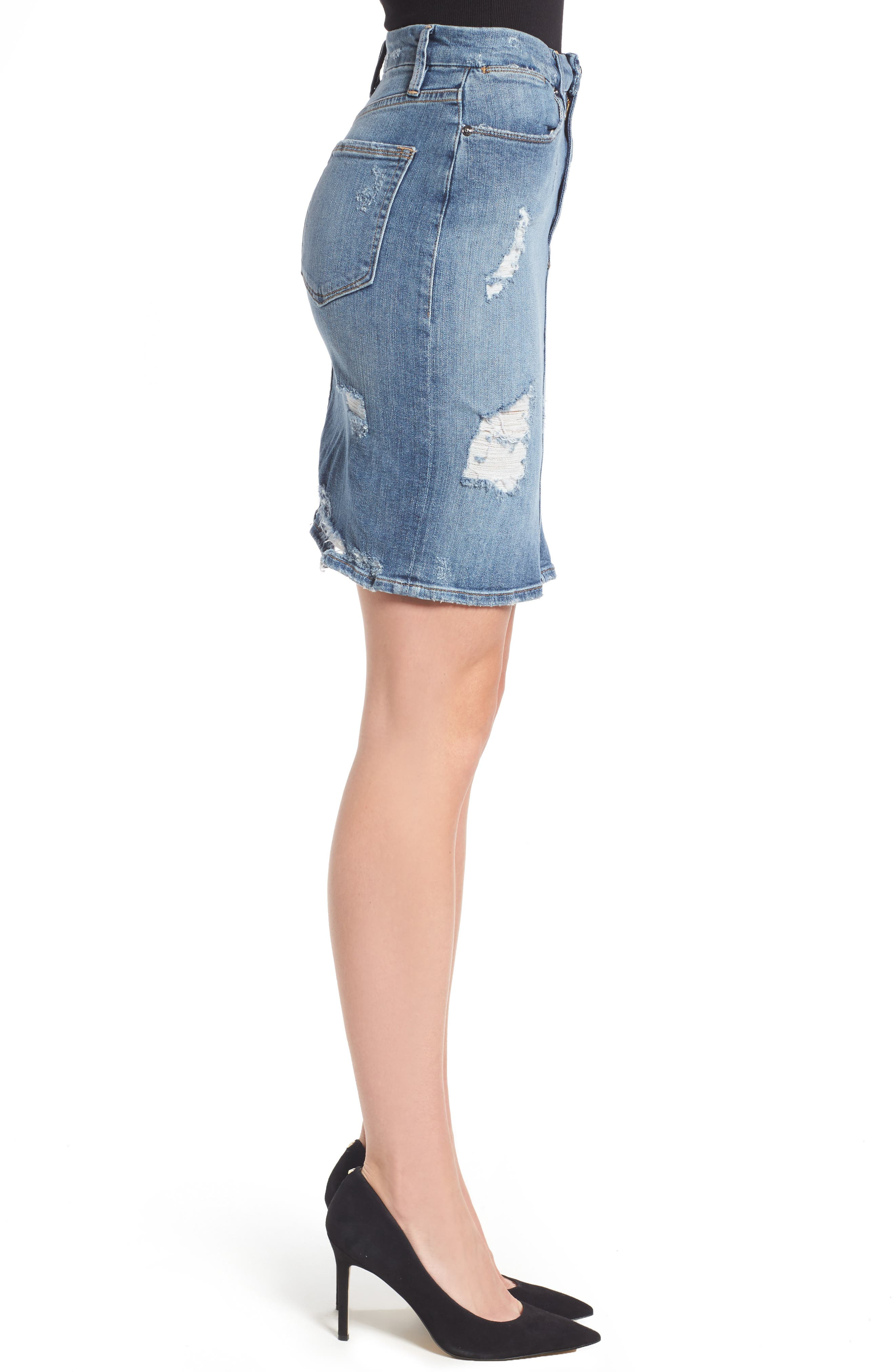 High Waist Denim Pencil Skirt,                             Alternate thumbnail 4, color,                             Blue 083