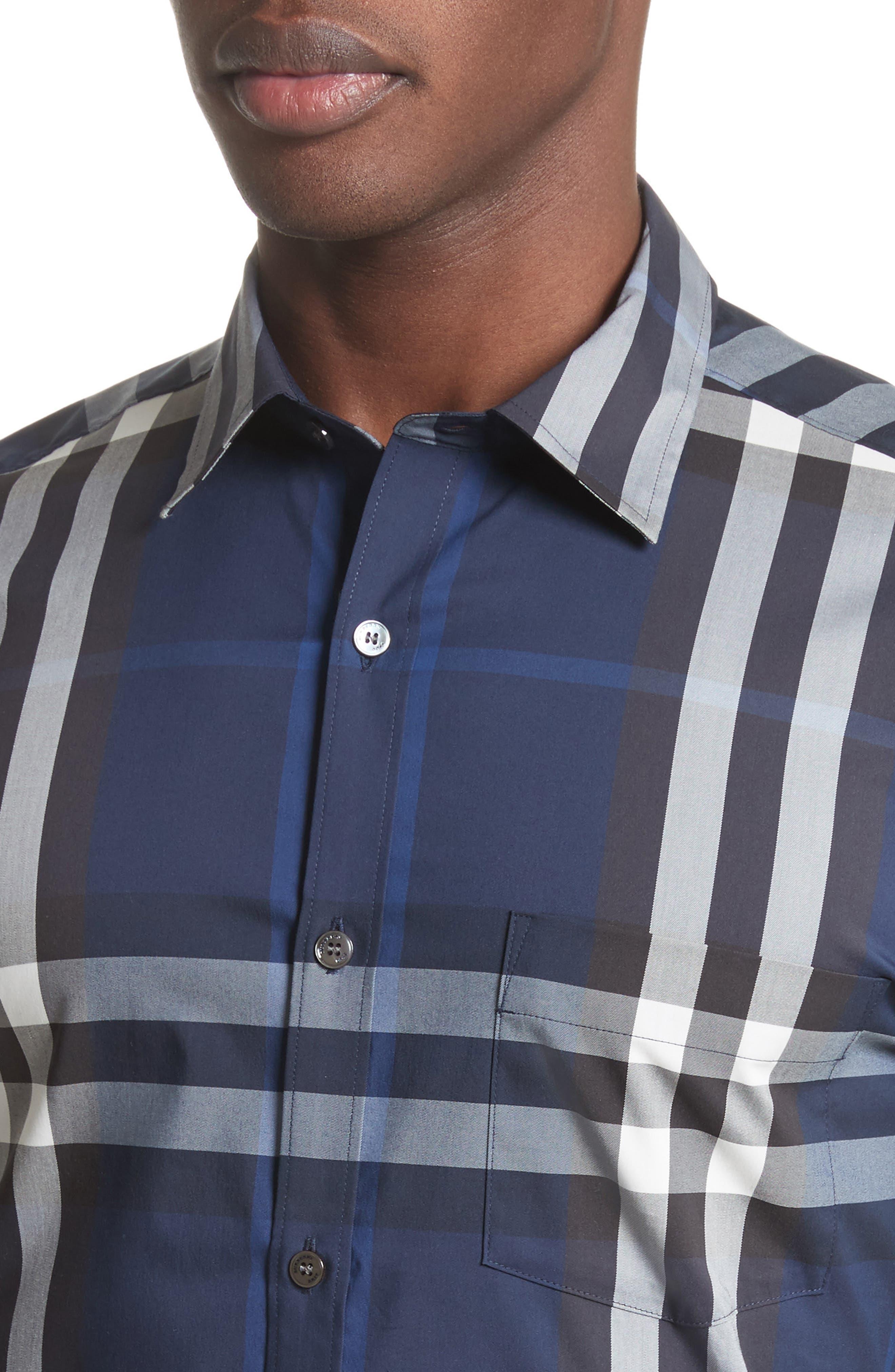 Nelson Trim Fit Plaid Sport Shirt,                             Alternate thumbnail 4, color,                             Indigo Blue