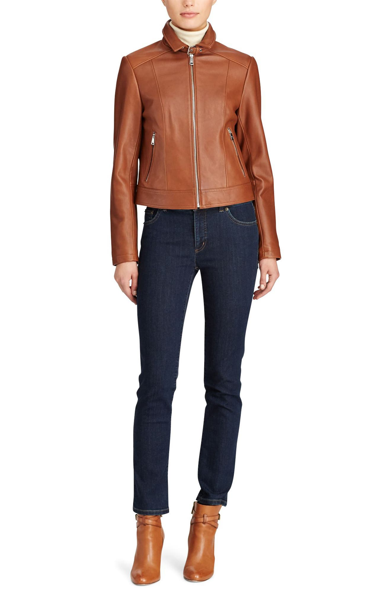 Shirt Collar Leather Jacket,                             Alternate thumbnail 2, color,                             Cuoio