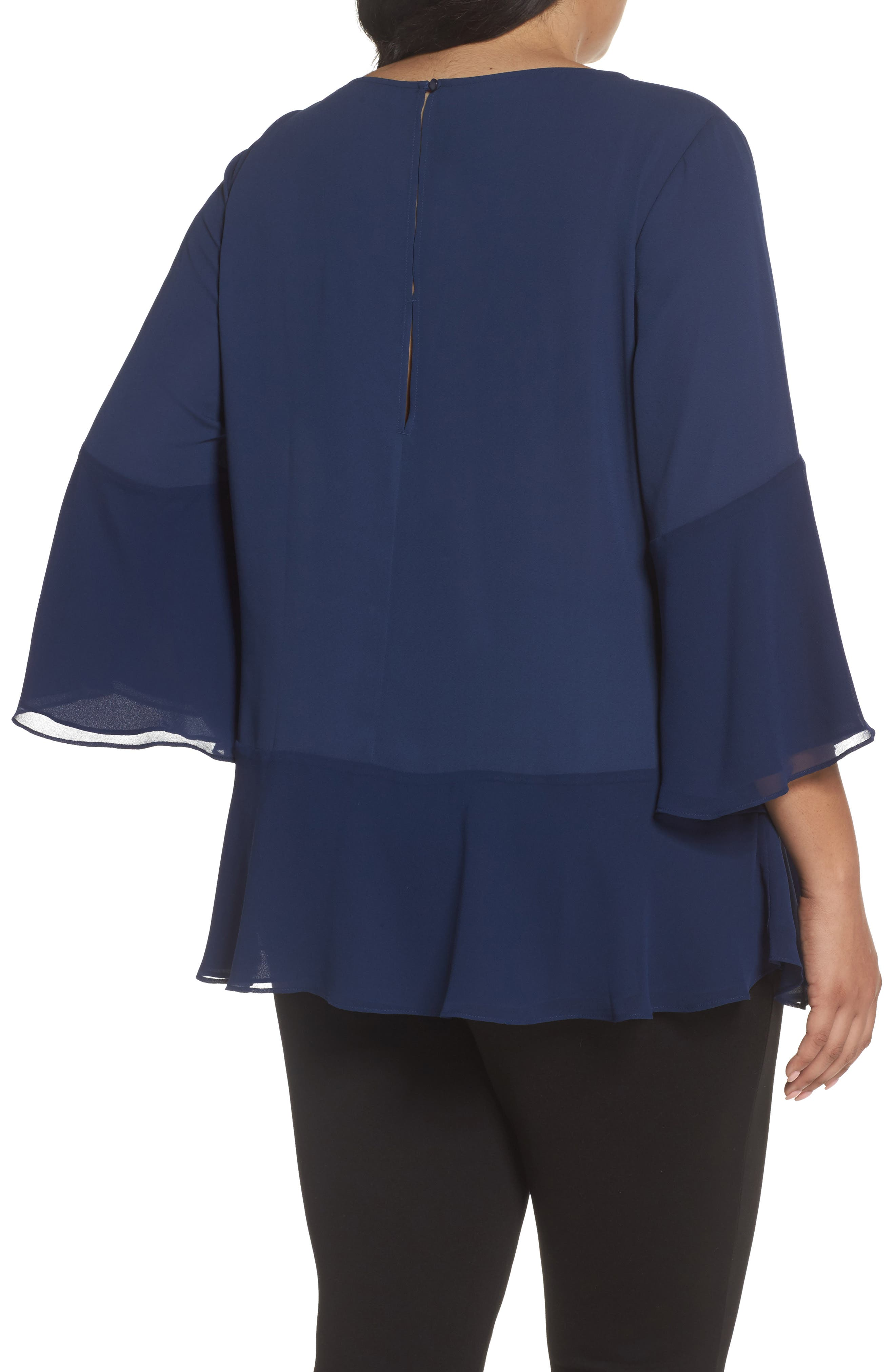 Flare Sleeve Double Layer Top,                             Alternate thumbnail 2, color,                             Navy Medieval