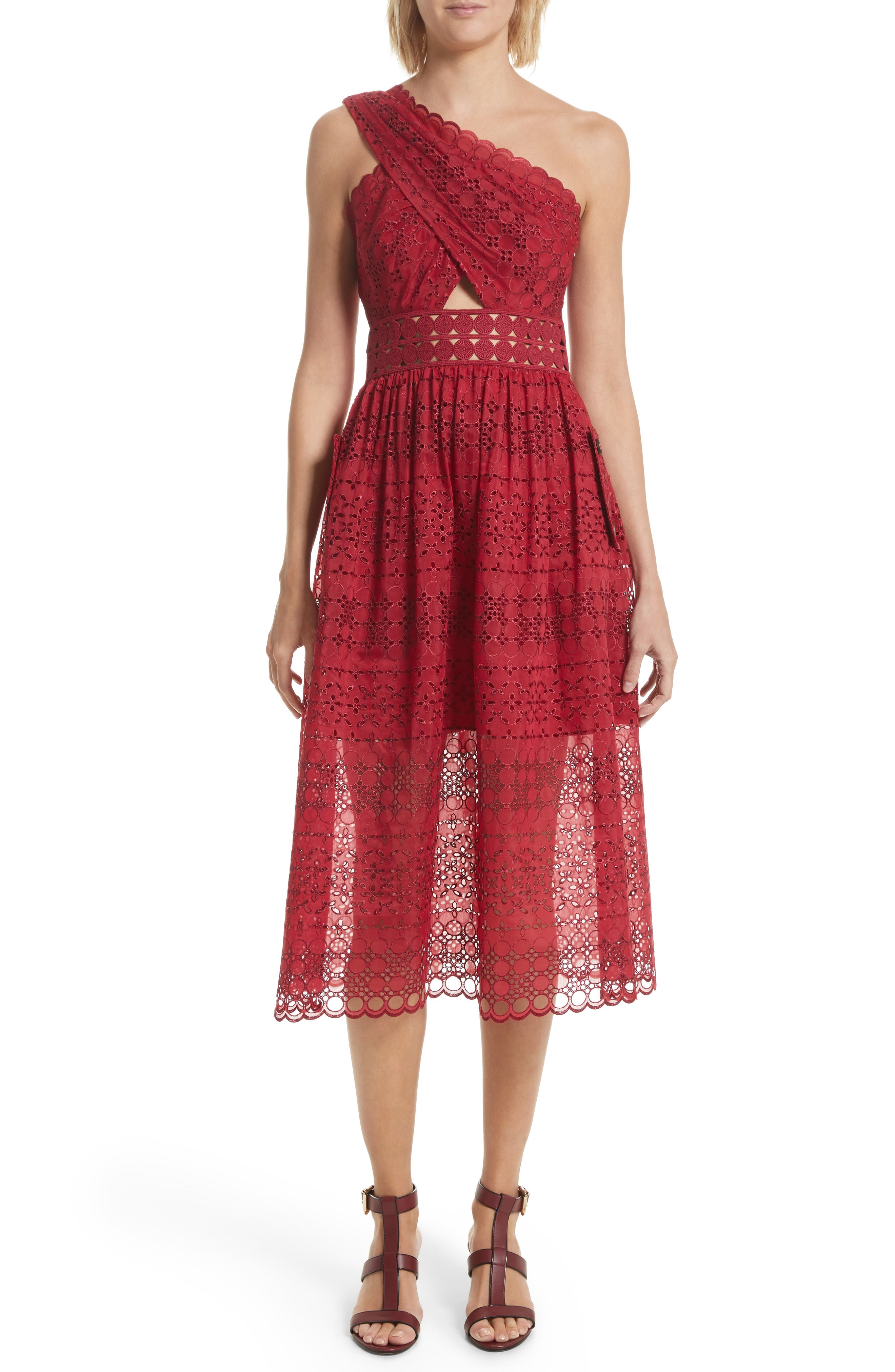 Cutout One-Shoulder Midi Dress,                             Main thumbnail 1, color,                             Raspberry Red