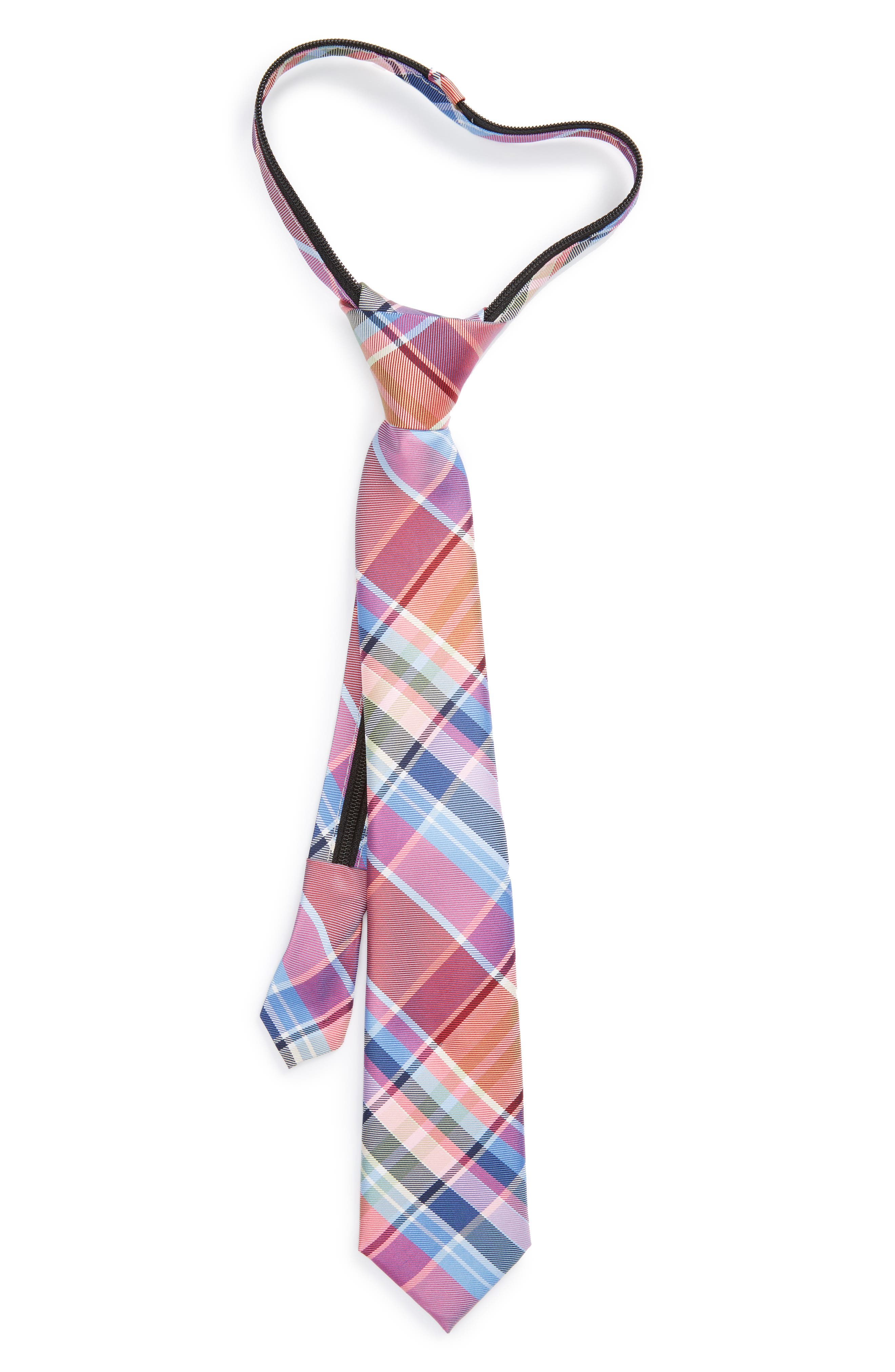 Nordstrom Plaid Silk Zipper Tie (Big Boys)