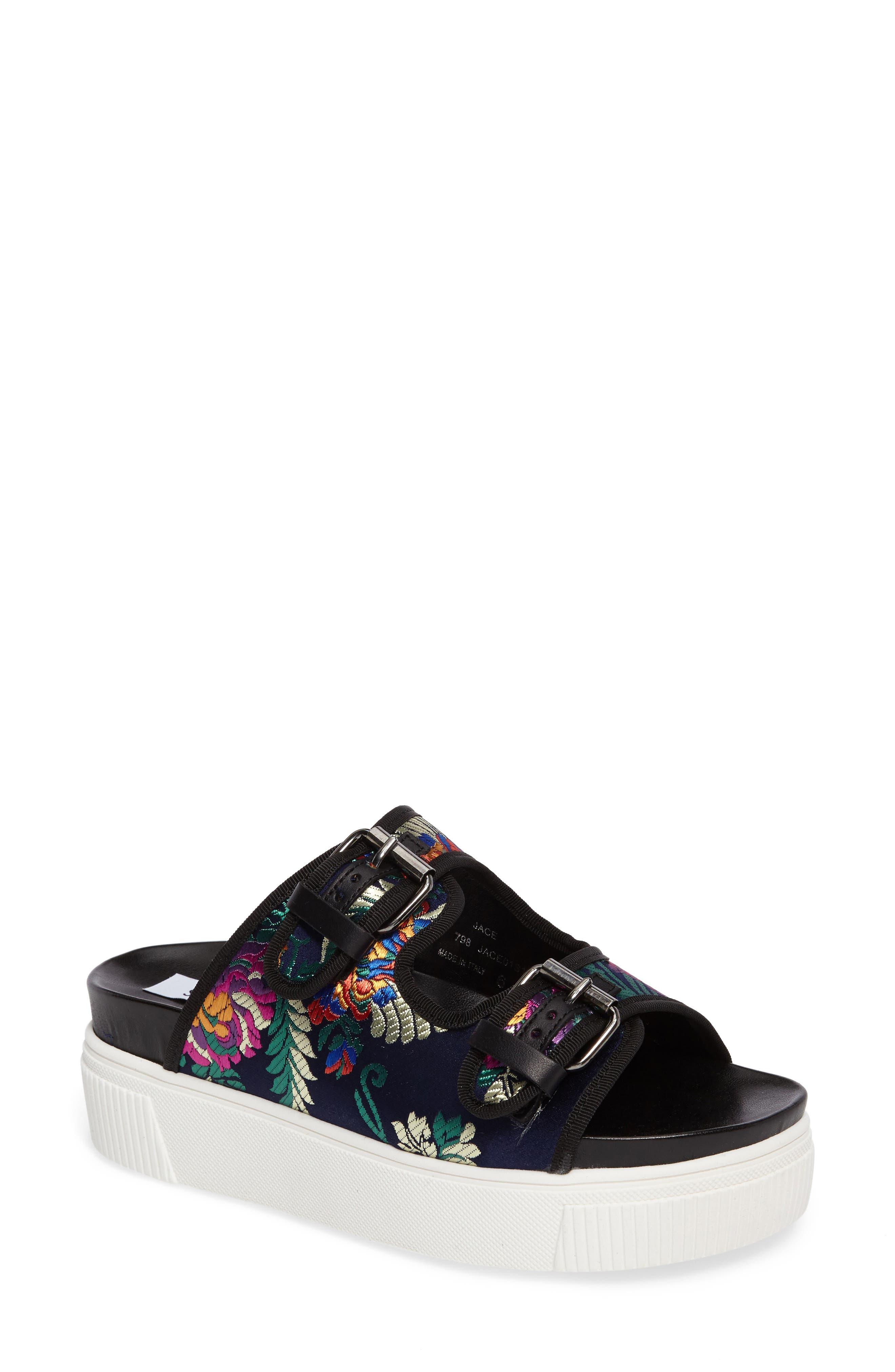 STEVE MADDEN Jace Embroidered Platform Slide Sandal
