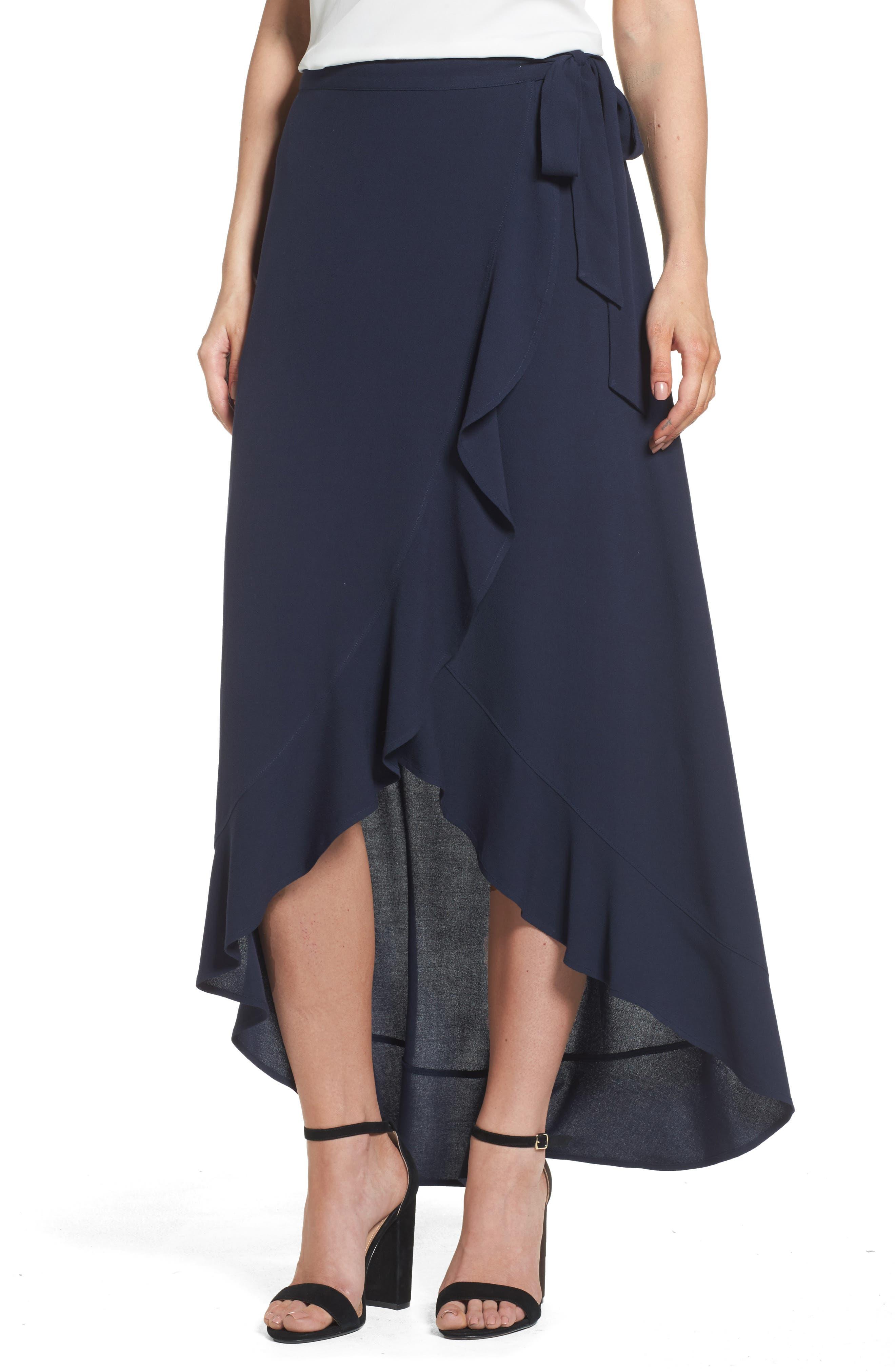 Ruffle Wrap Skirt,                         Main,                         color, Navy Sapphire