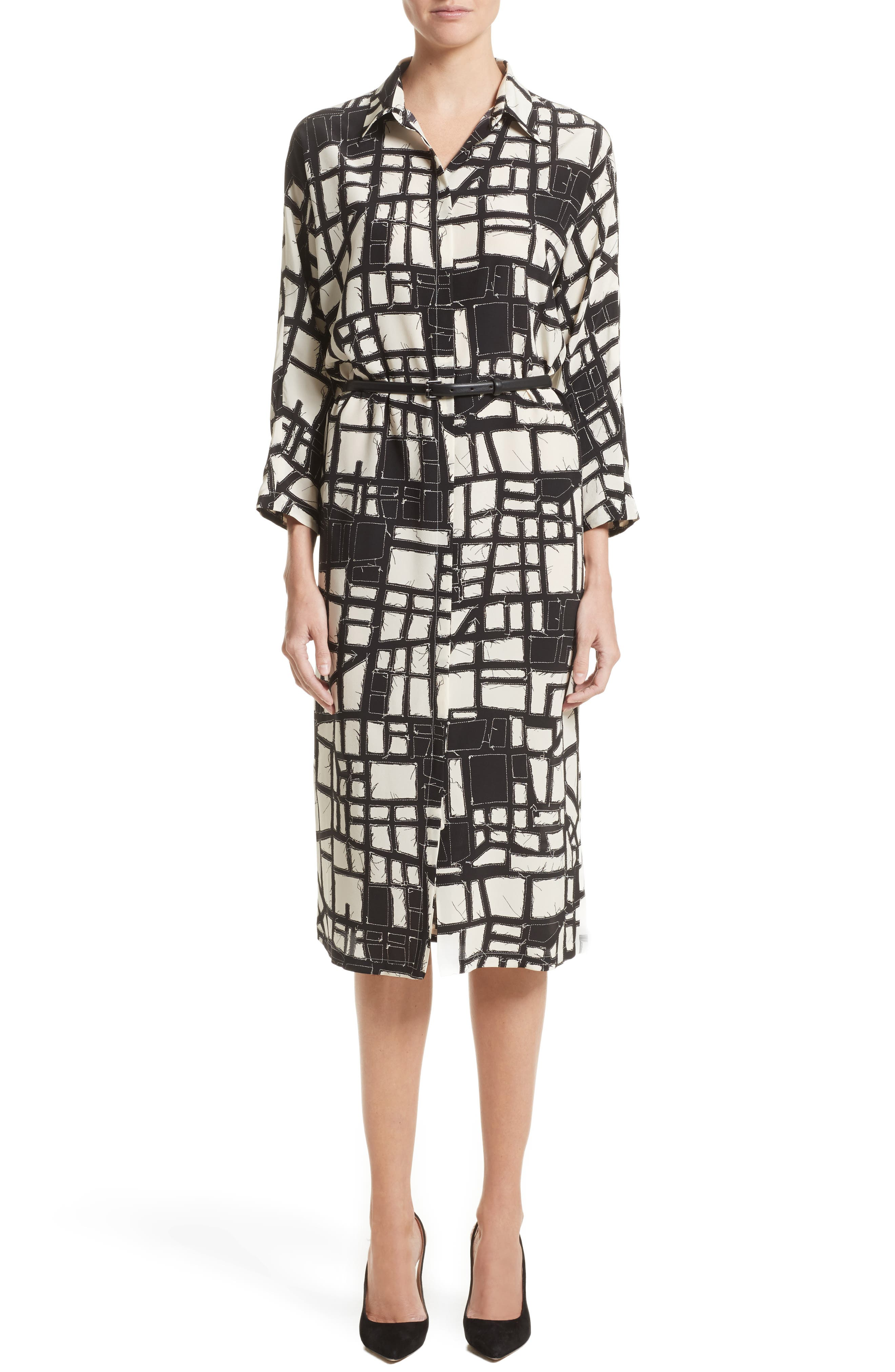 Aligi Print Silk Dress,                         Main,                         color, Ivory