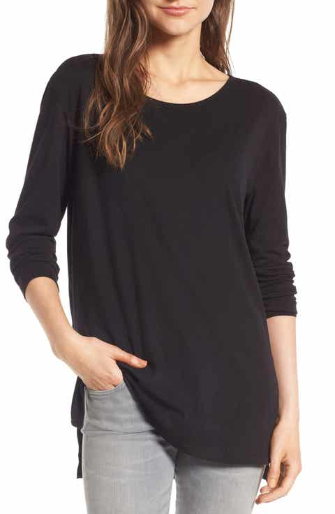 Women's Black Long Sleeve Tops & Tees | Nordstrom