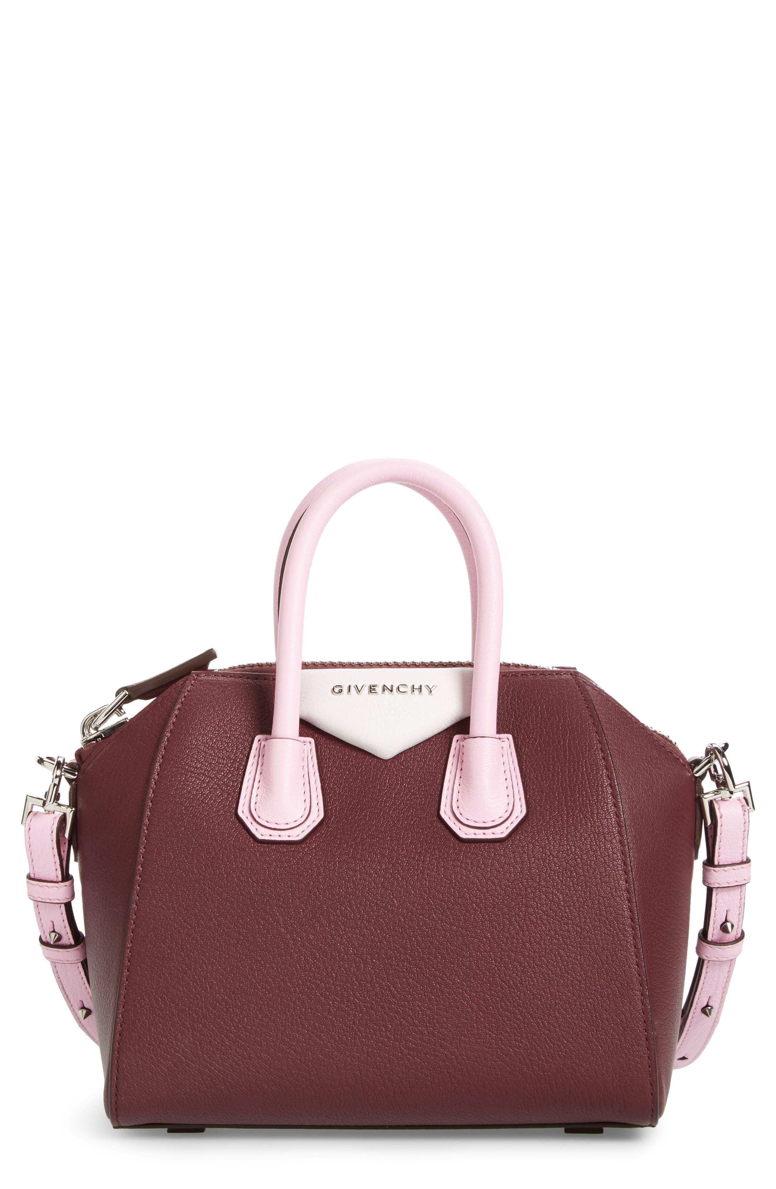 Mini Antigona Leather Top Handle Satchel,                         Main,                         color, Burgundy/ Pink