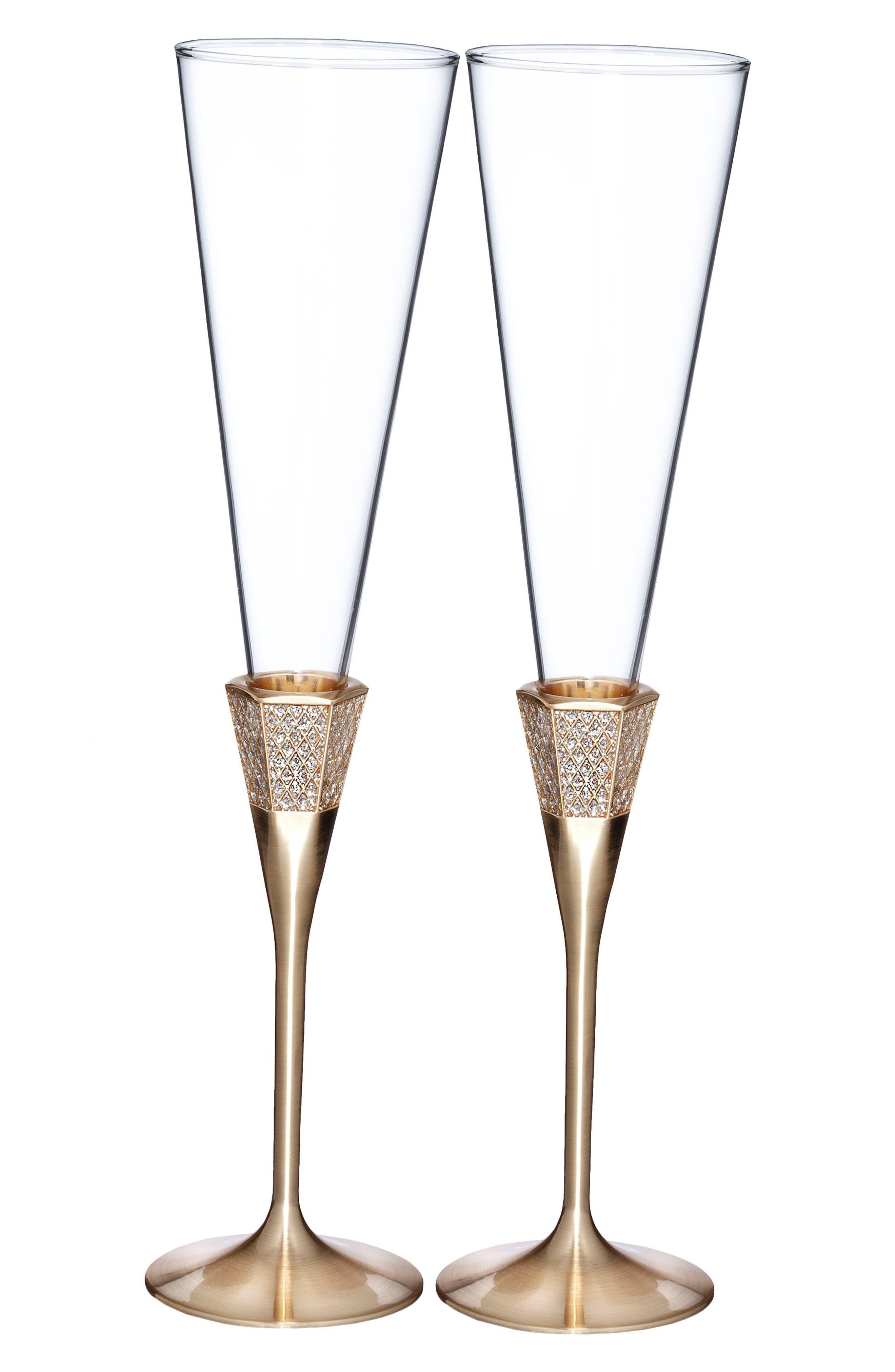Lismore Diamond Set of 2 Gold Toasting Flutes,                         Main,                         color, Crystal