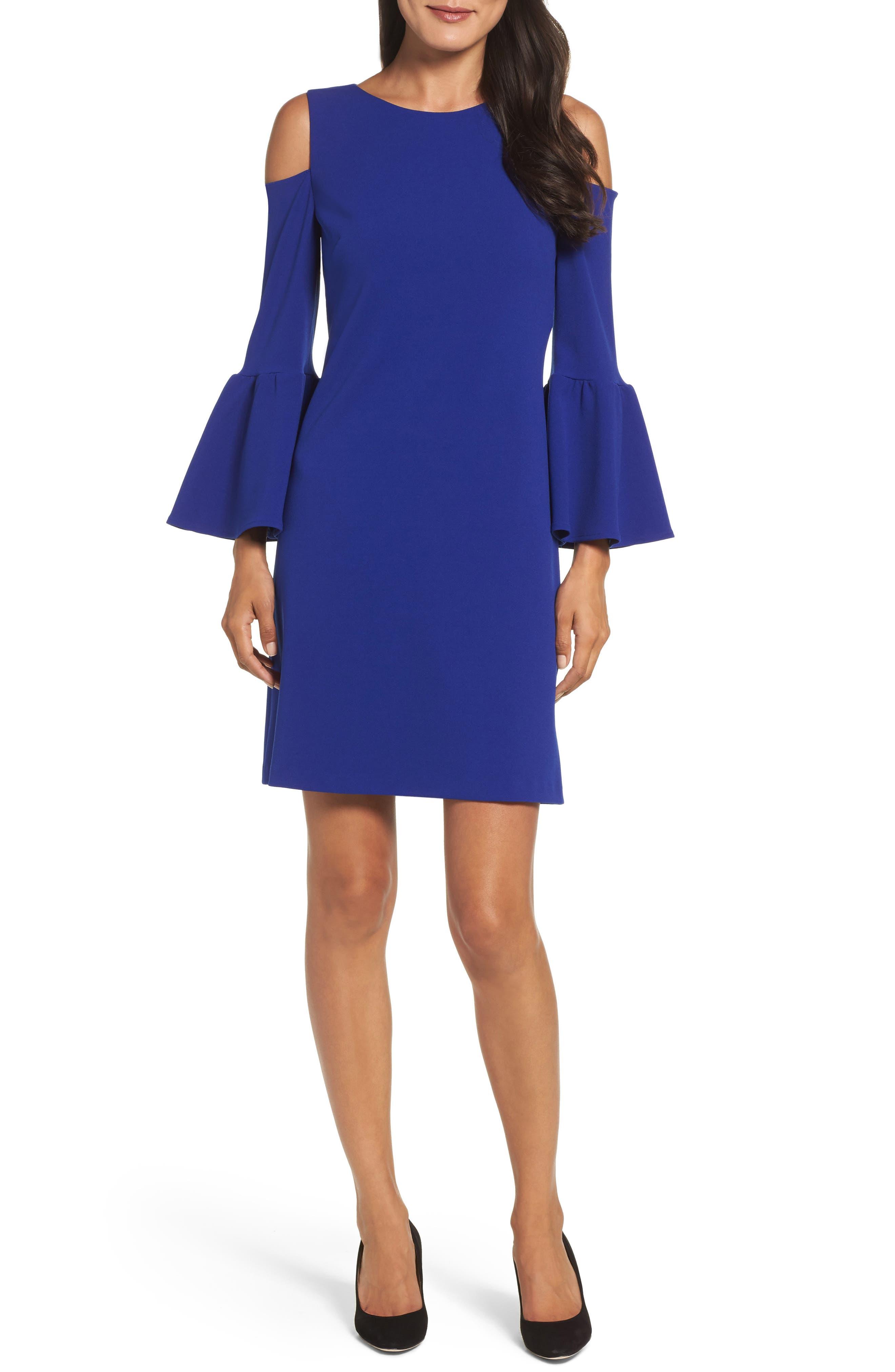 Eliza J Cold Shoulder Crepe Dress (Regular & Petite)