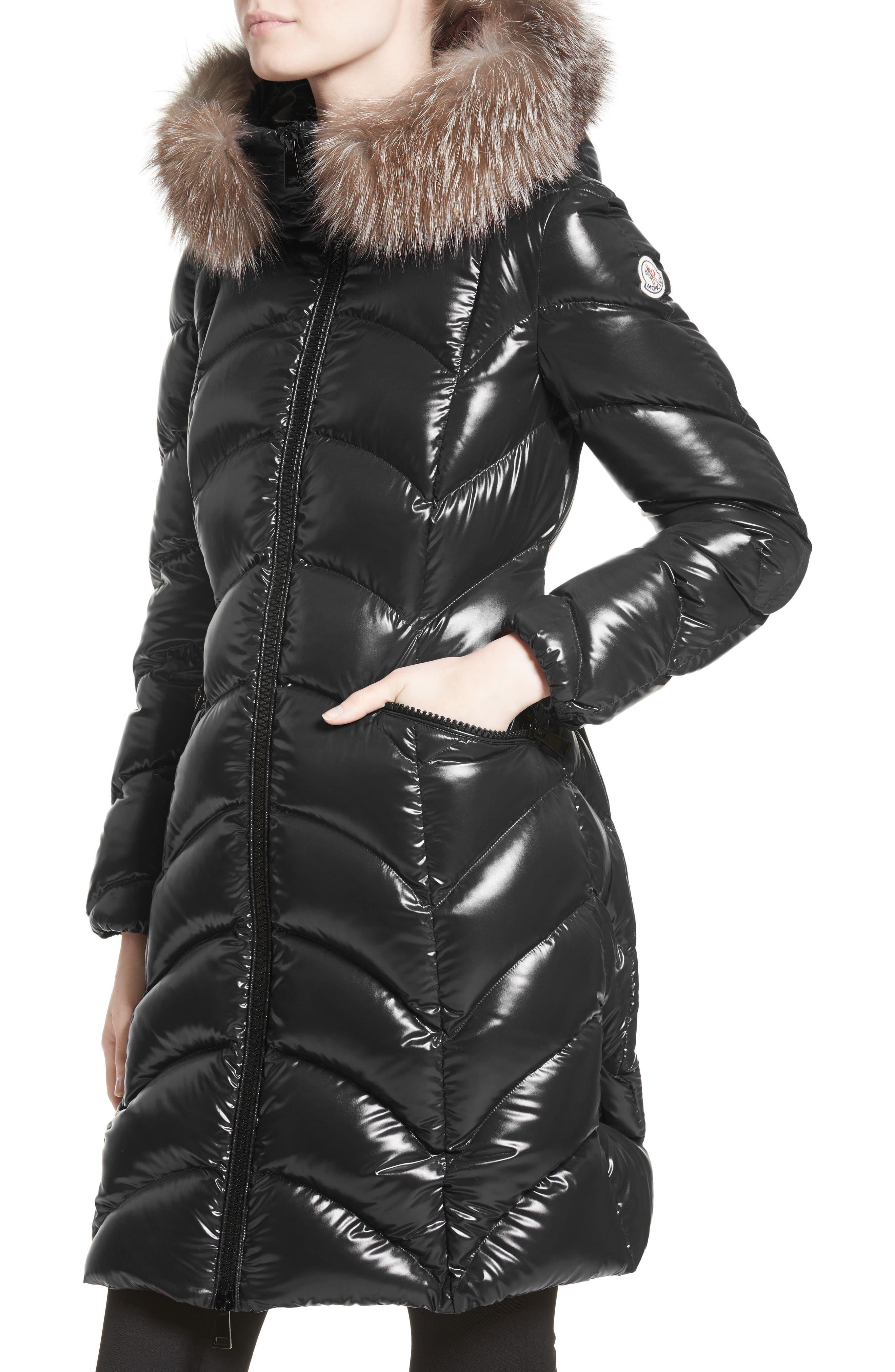 Alternate Image 4  - Moncler Albizia Down Puffer Coat with Genuine Fox Fur Trim