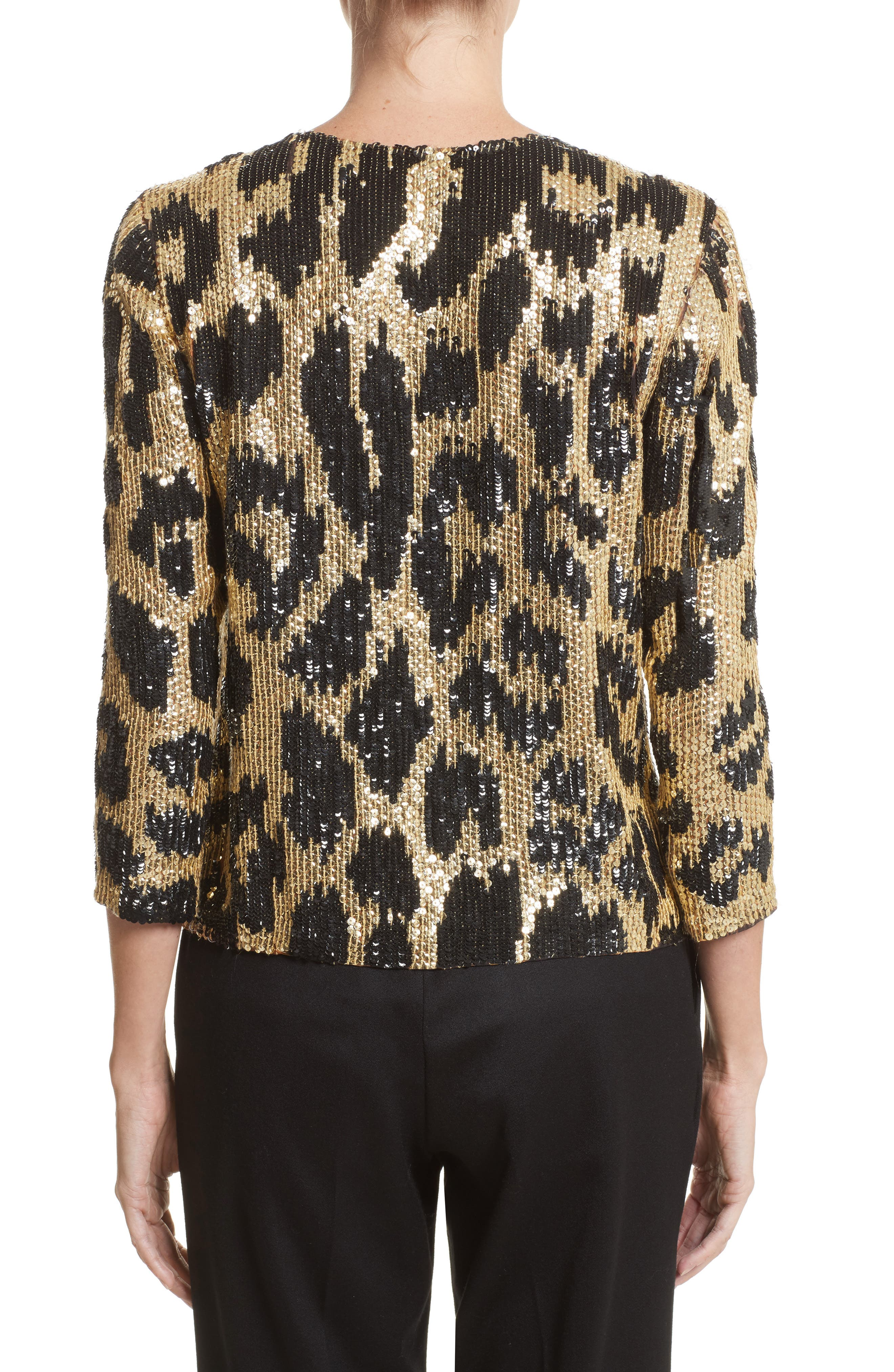 Cheetah Print Sequin Jacket,                             Alternate thumbnail 2, color,                             Black/ Gold