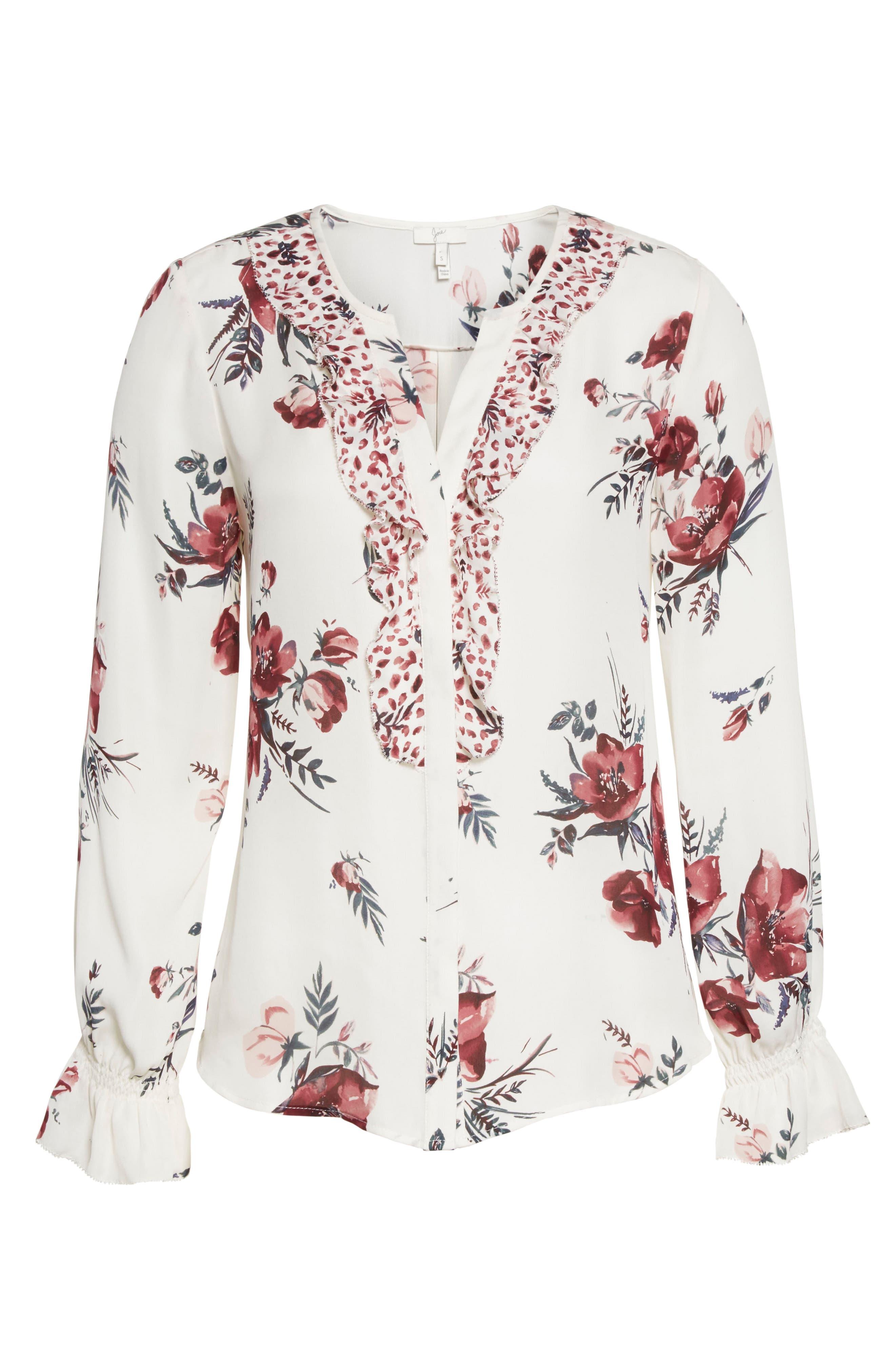 Alternate Image 6  - Joie Jayann B Ruffle Front Floral Silk Blouse