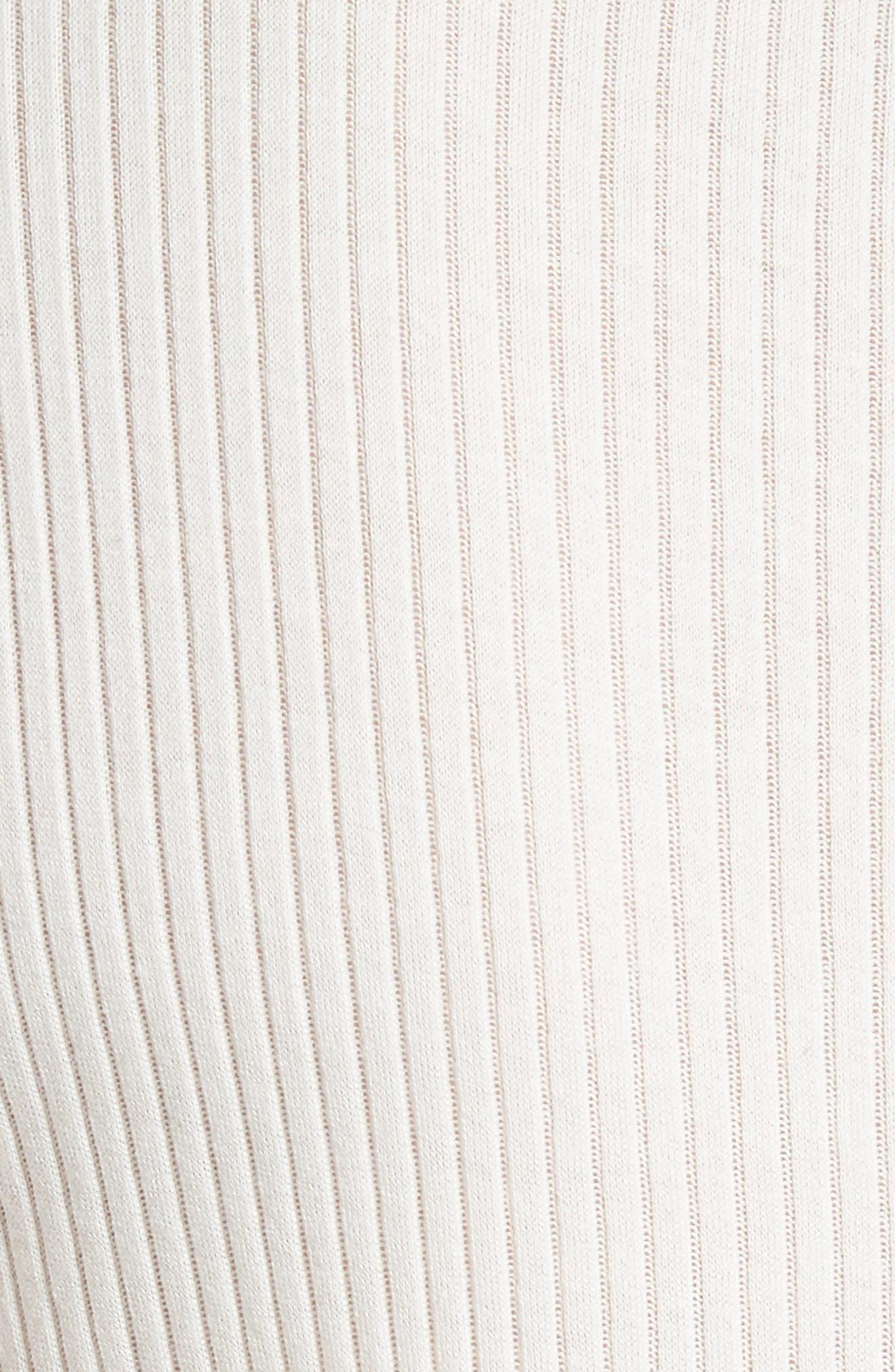 Dillon Silk Trim Cotton Tee,                             Alternate thumbnail 6, color,                             Blanc