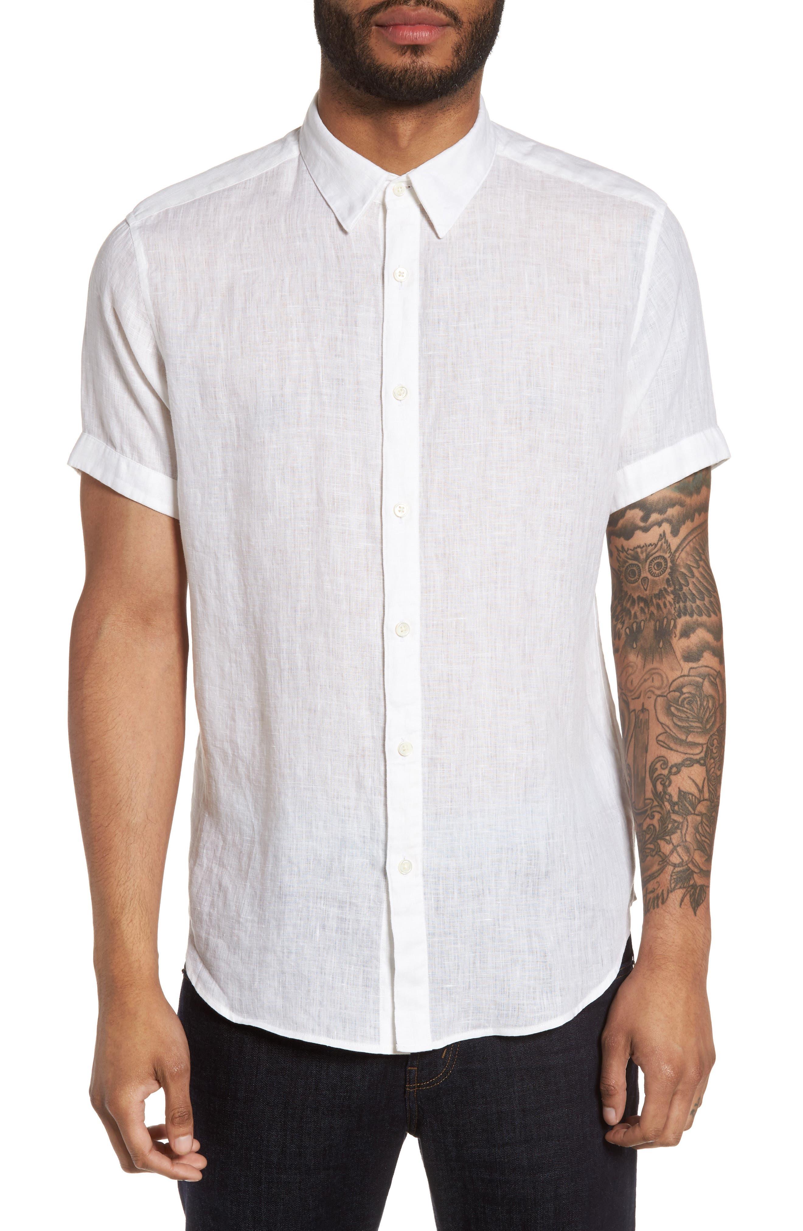 Theory Clark Trim Fit Linen Sport Shirt