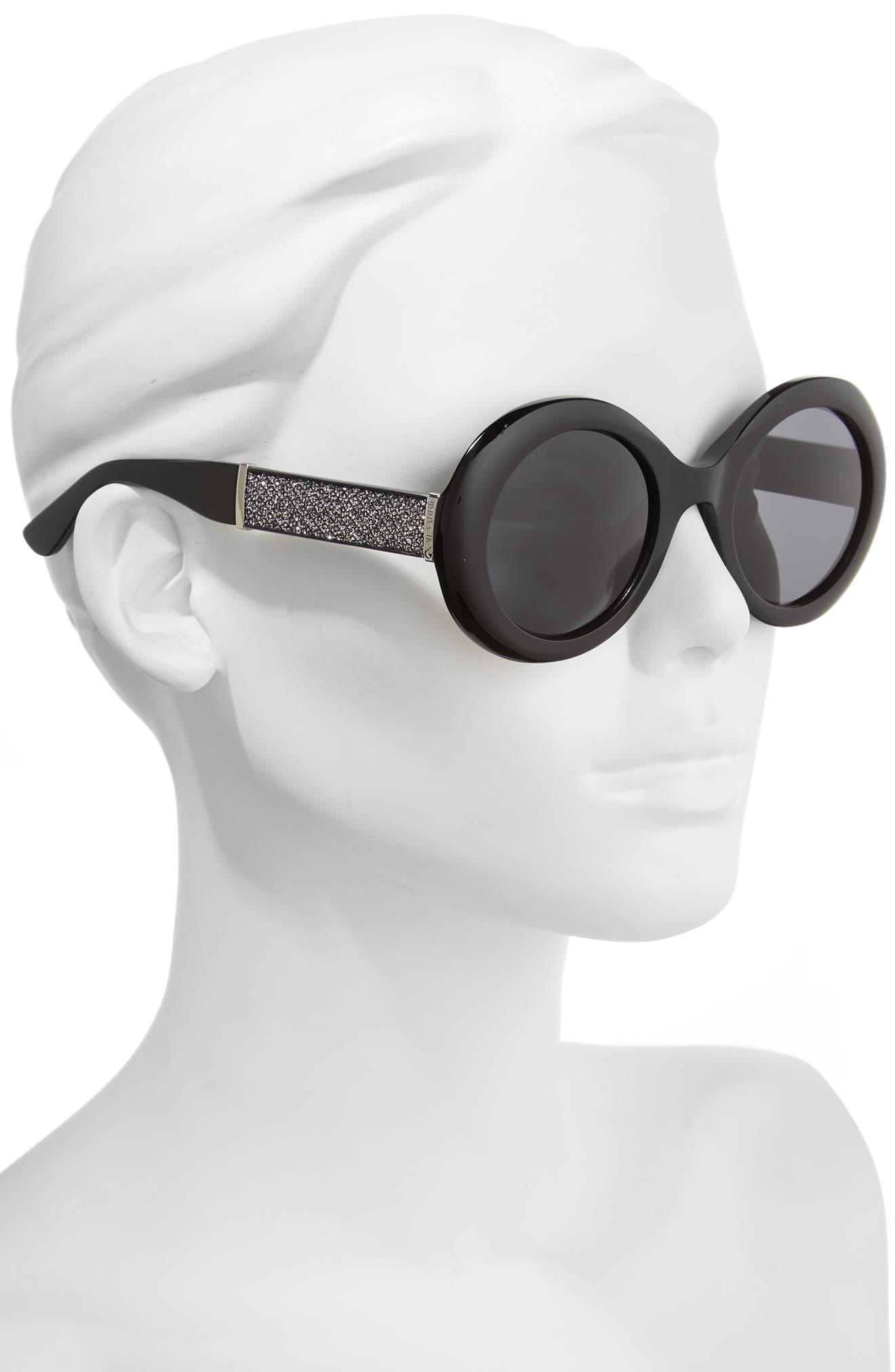 Wendy 51mm Round Sunglasses,                             Alternate thumbnail 2, color,                             Black/ Glitter/ Black