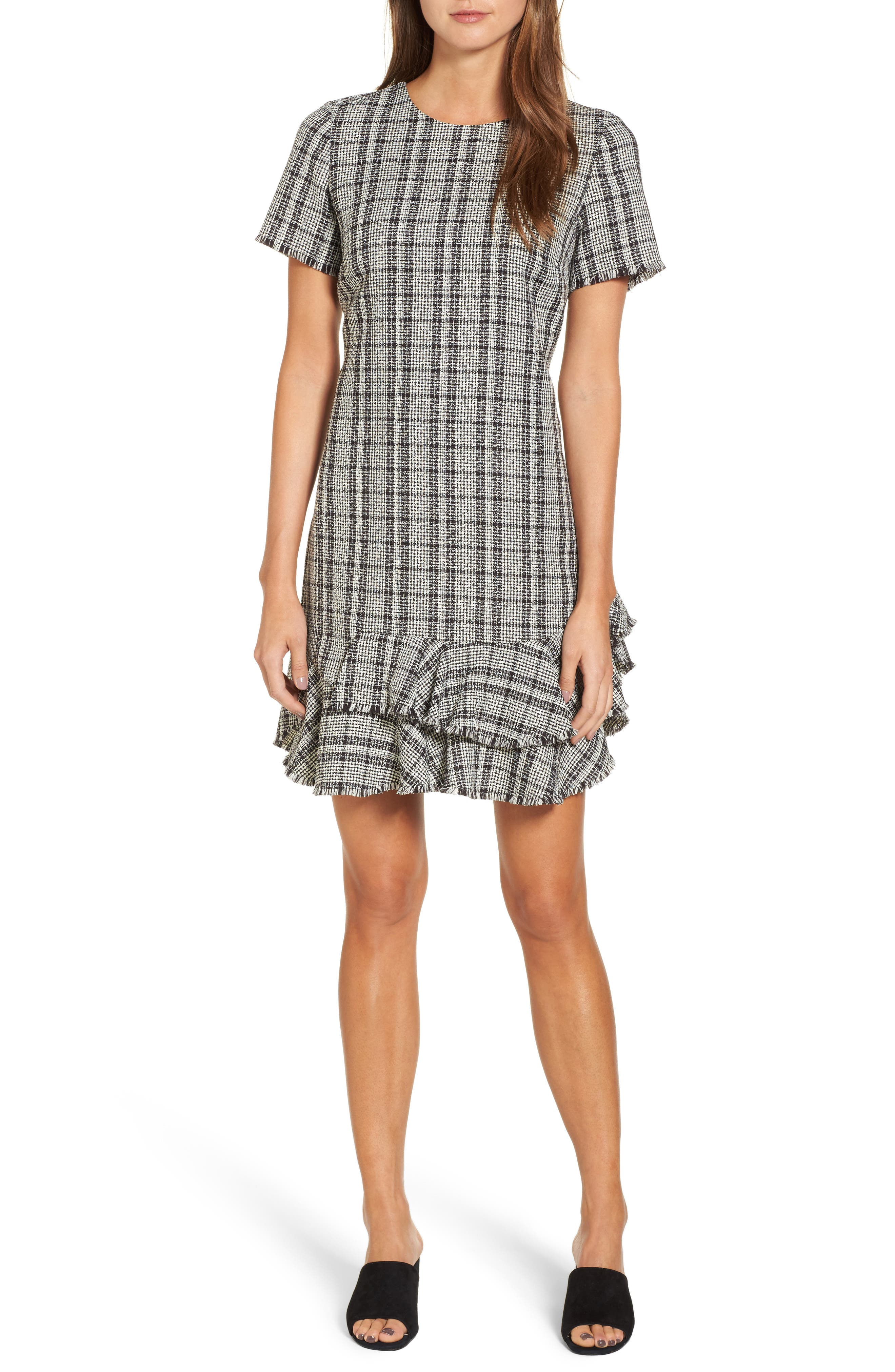 Tweed Ruffle Shift Dress,                         Main,                         color, Black Ivory Combo