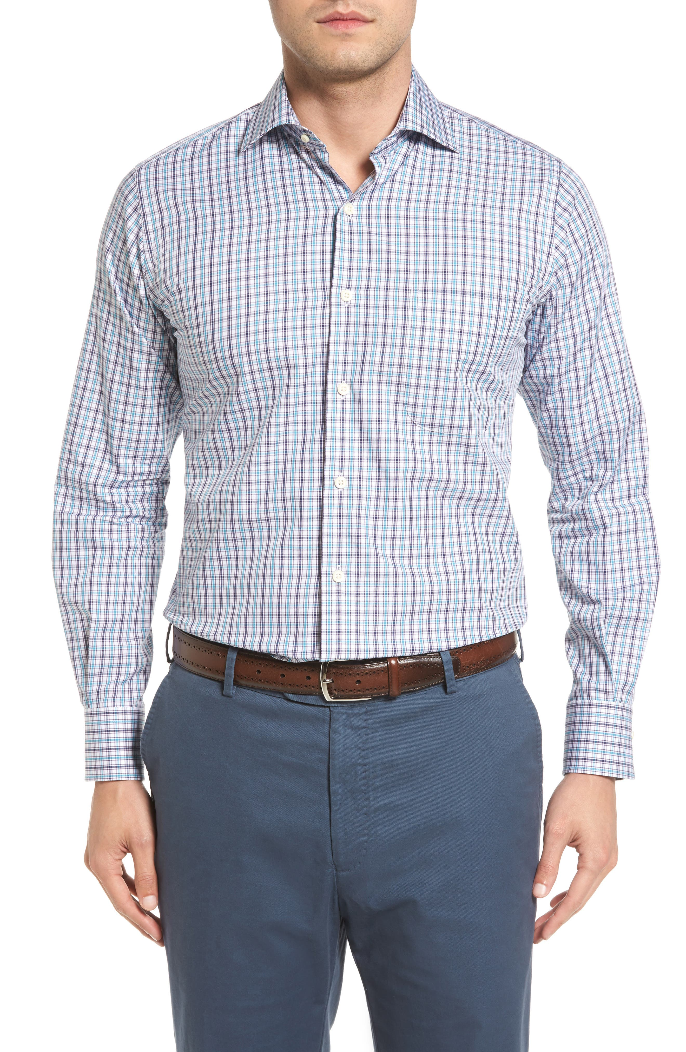 Peter Millar Regular Fit Channel Check Sport Shirt