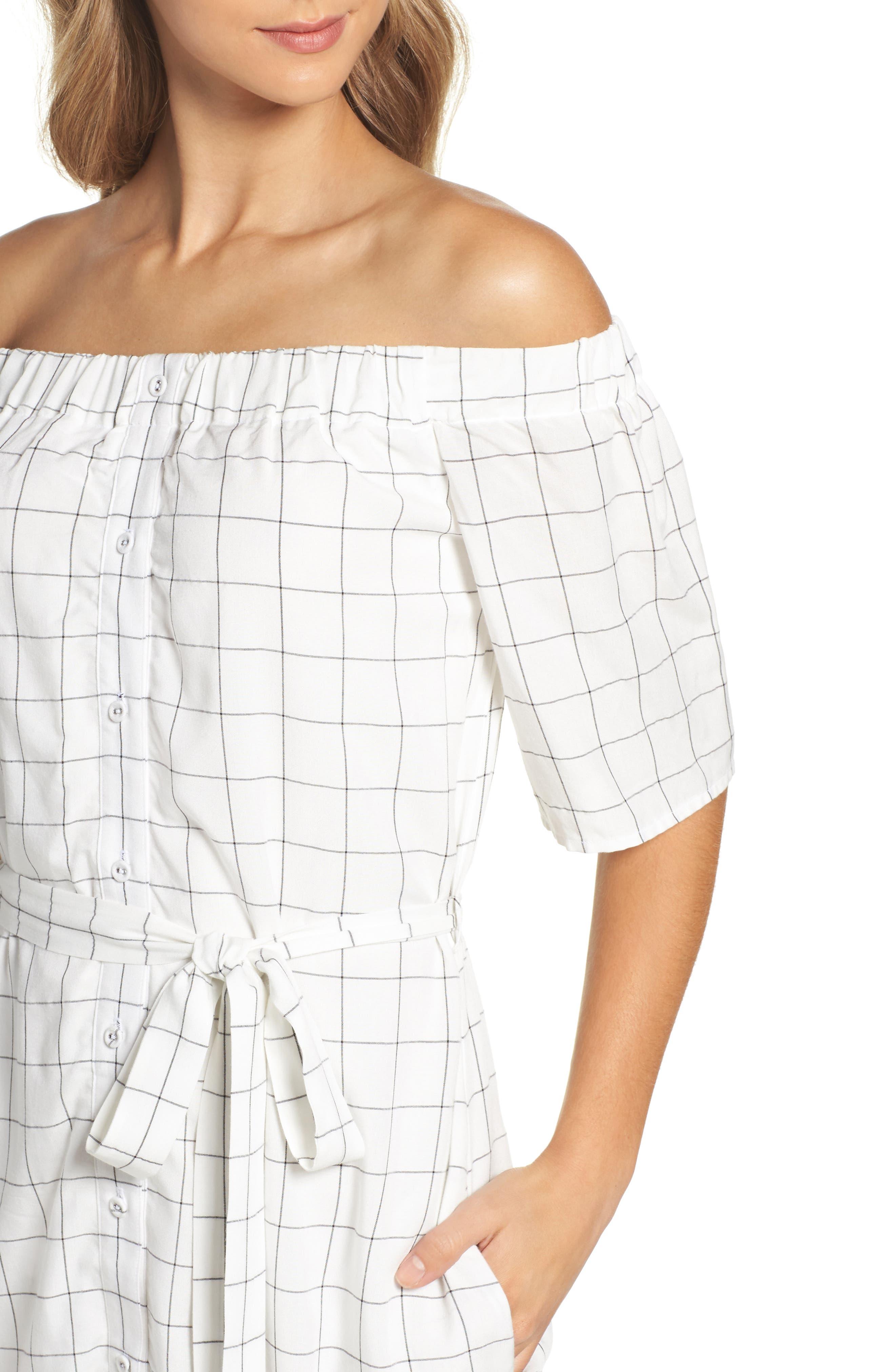 Alternate Image 4  - Charles Henry Off the Shoulder Shirtdress