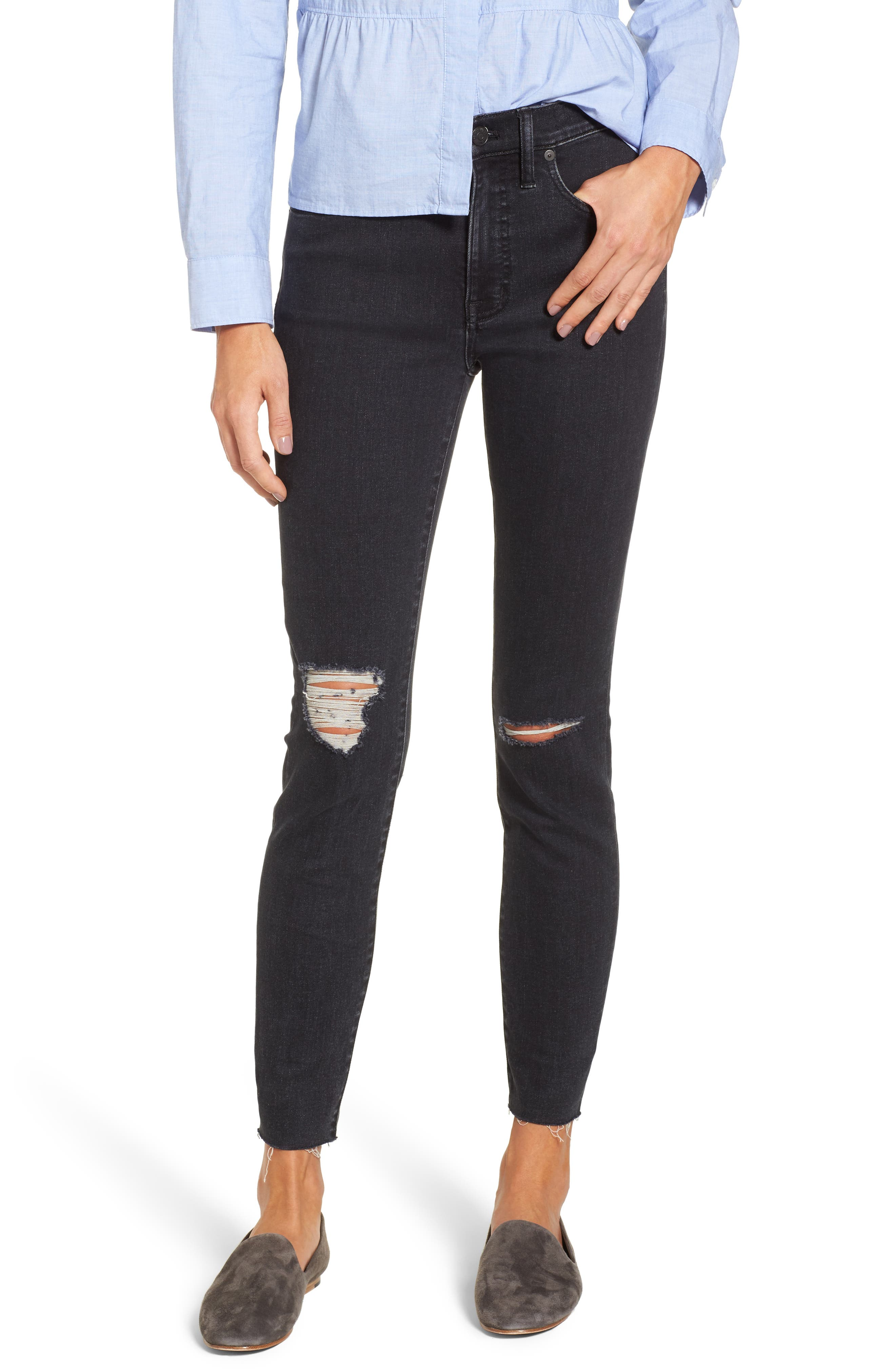 9-Inch High Rise Ripped Skinny Jeans,                         Main,                         color, Ruth Wash