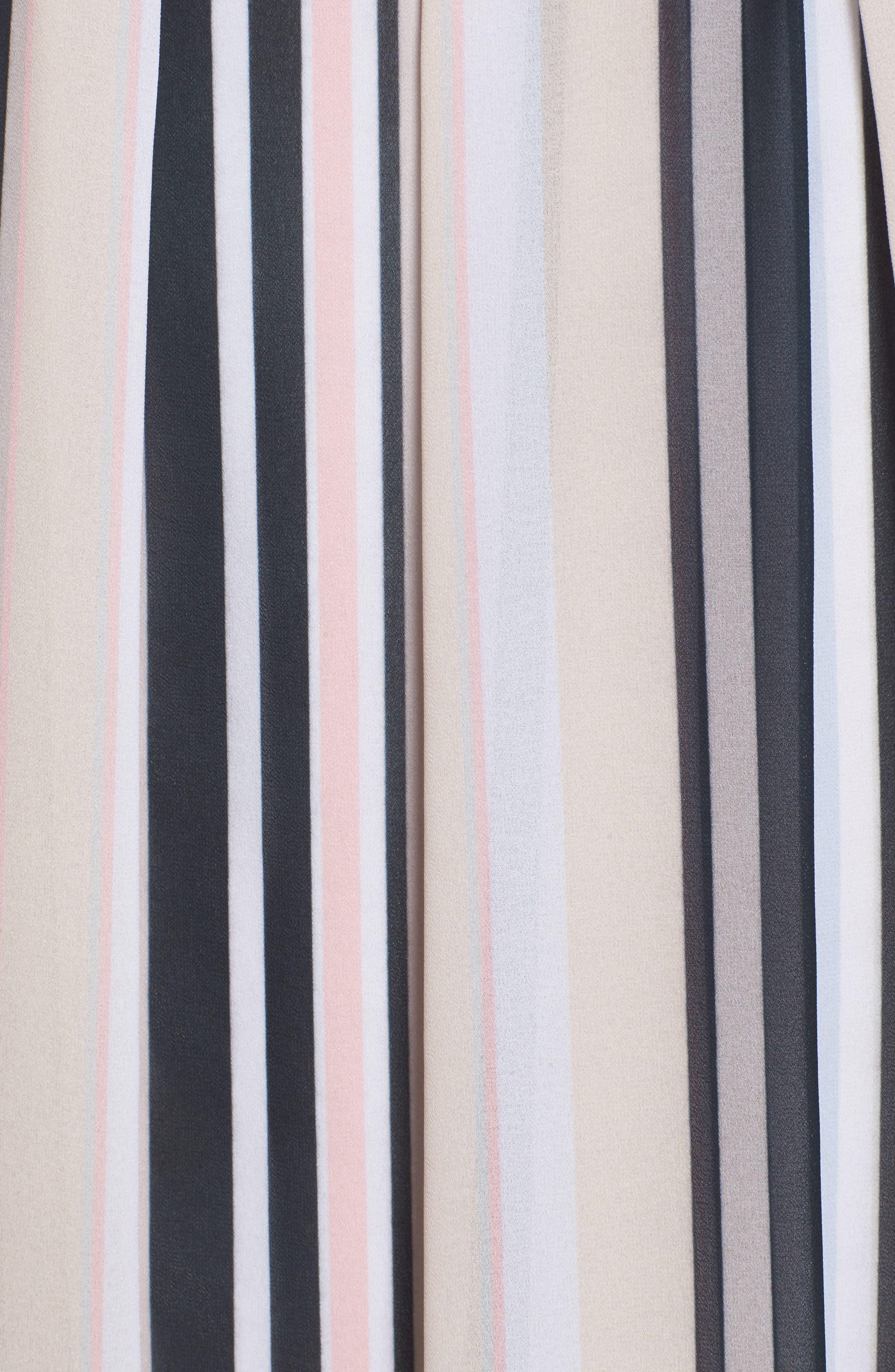 Stripe A-Line Skirt,                             Alternate thumbnail 5, color,                             Black/ Beach Combo