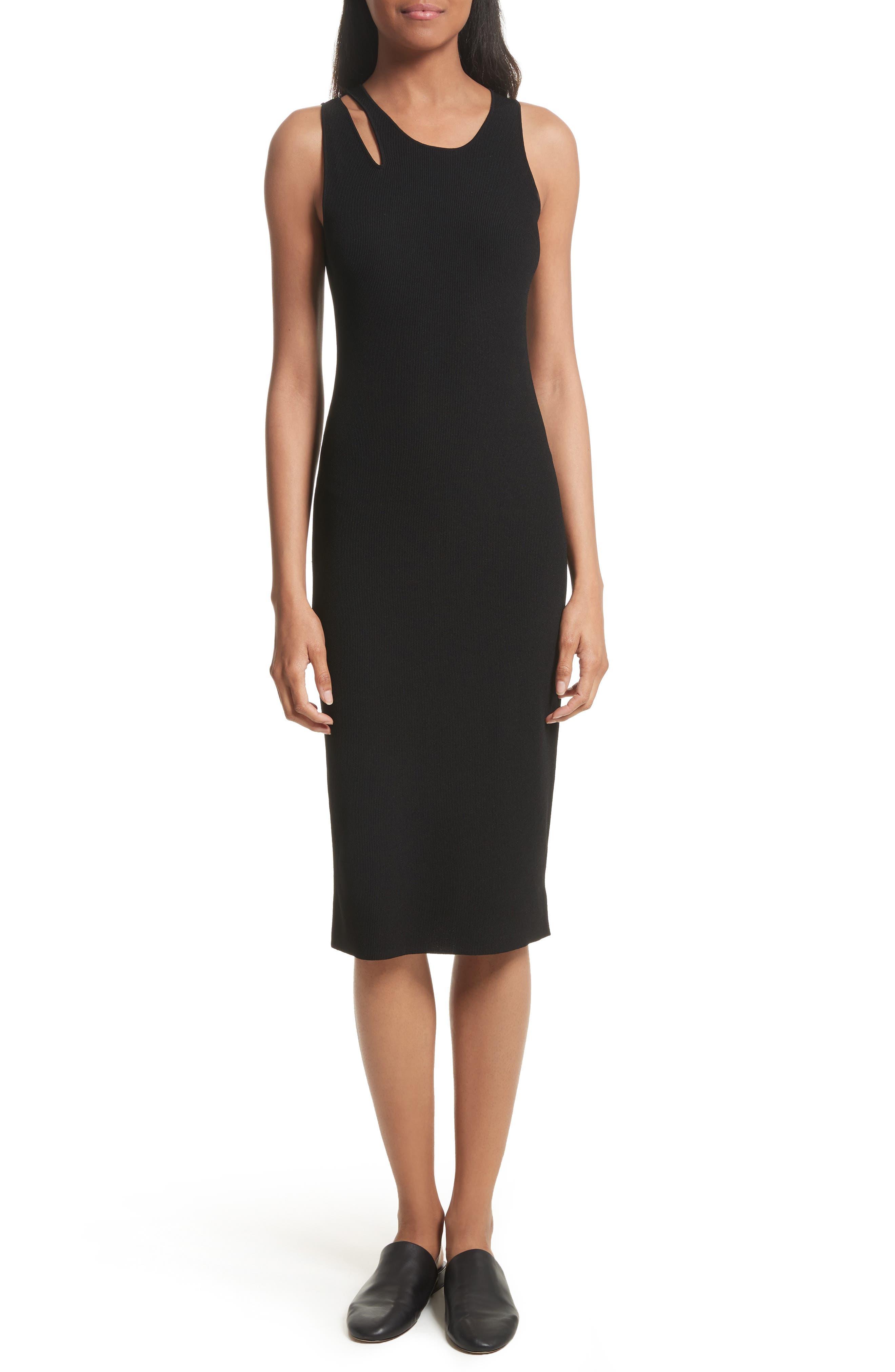 Slash Rib Knit Dress,                             Main thumbnail 1, color,                             Black
