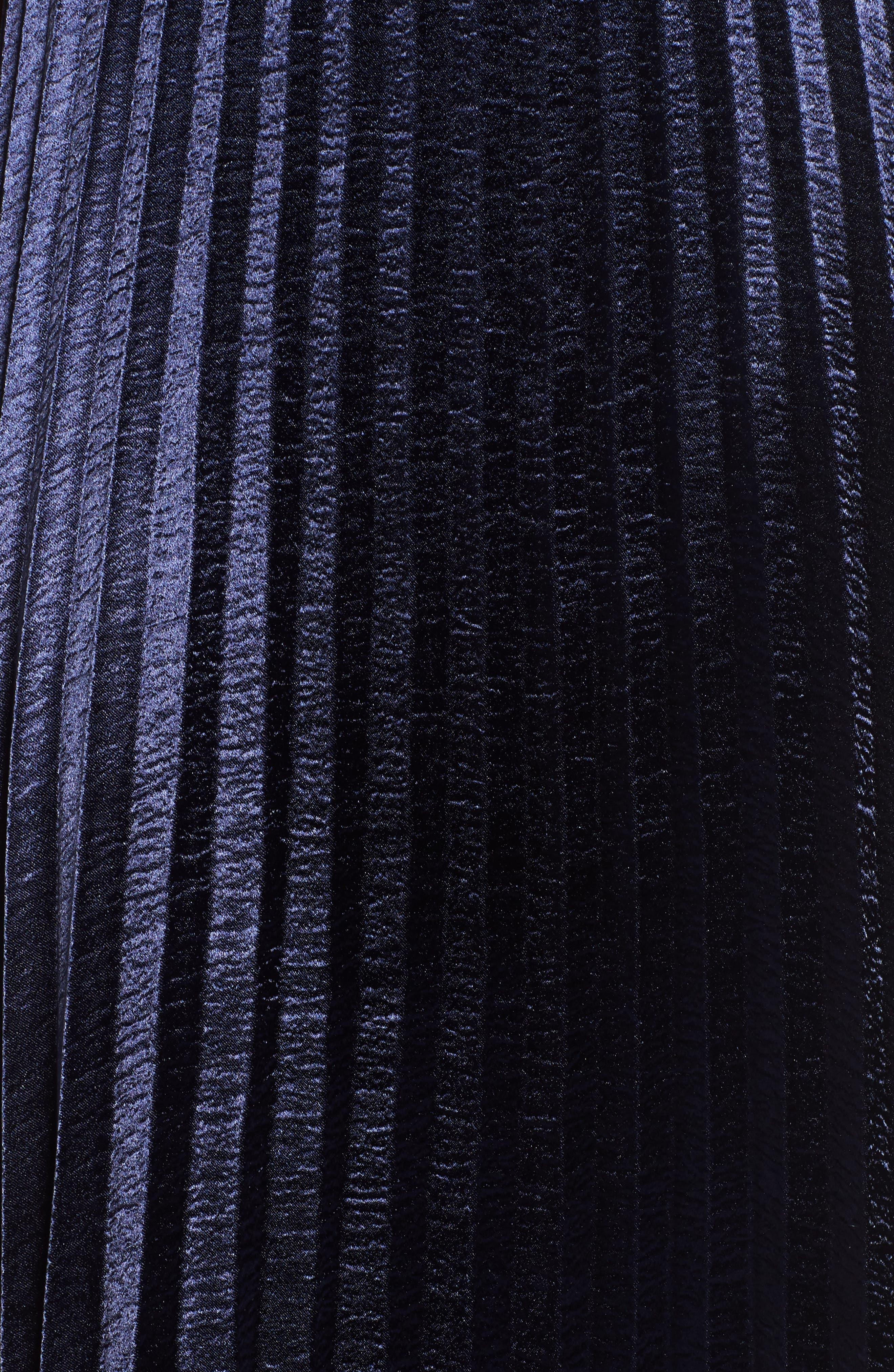 Pleated Satin Midi Skirt,                             Alternate thumbnail 5, color,                             Navy
